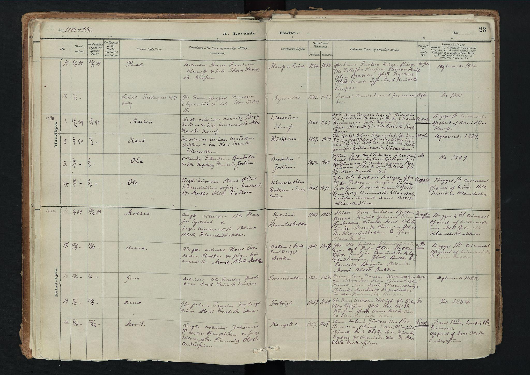 SAH, Nord-Fron prestekontor, Ministerialbok nr. 3, 1884-1914, s. 23