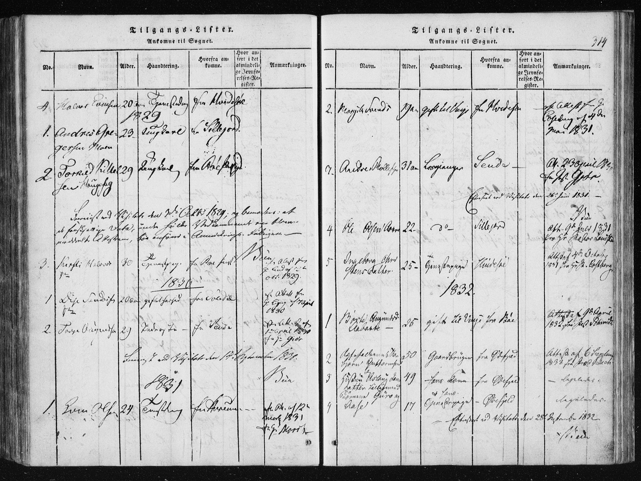 SAKO, Vinje kirkebøker, F/Fa/L0003: Ministerialbok nr. I 3, 1814-1843, s. 314