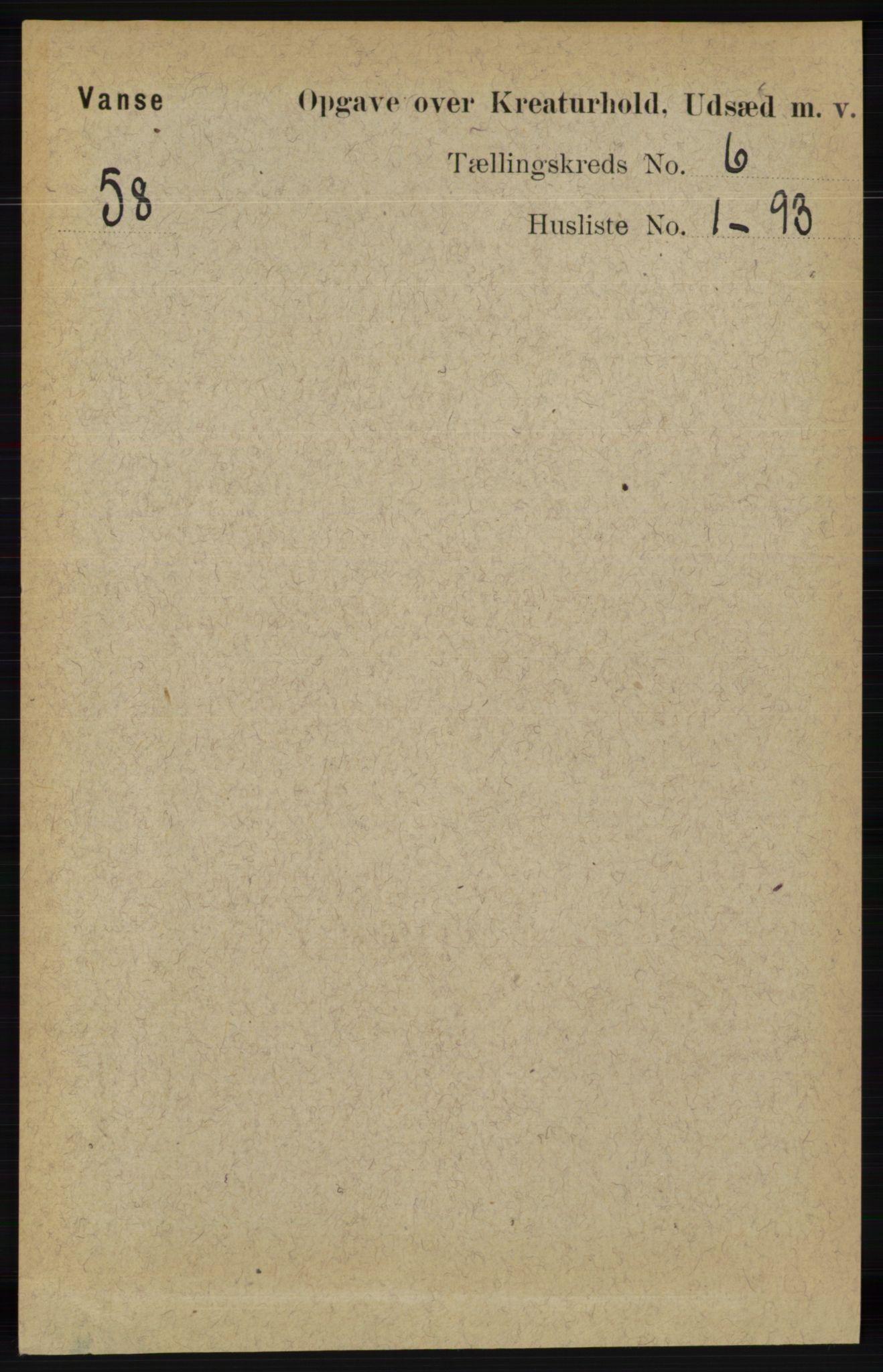 RA, Folketelling 1891 for 1041 Vanse herred, 1891, s. 8961