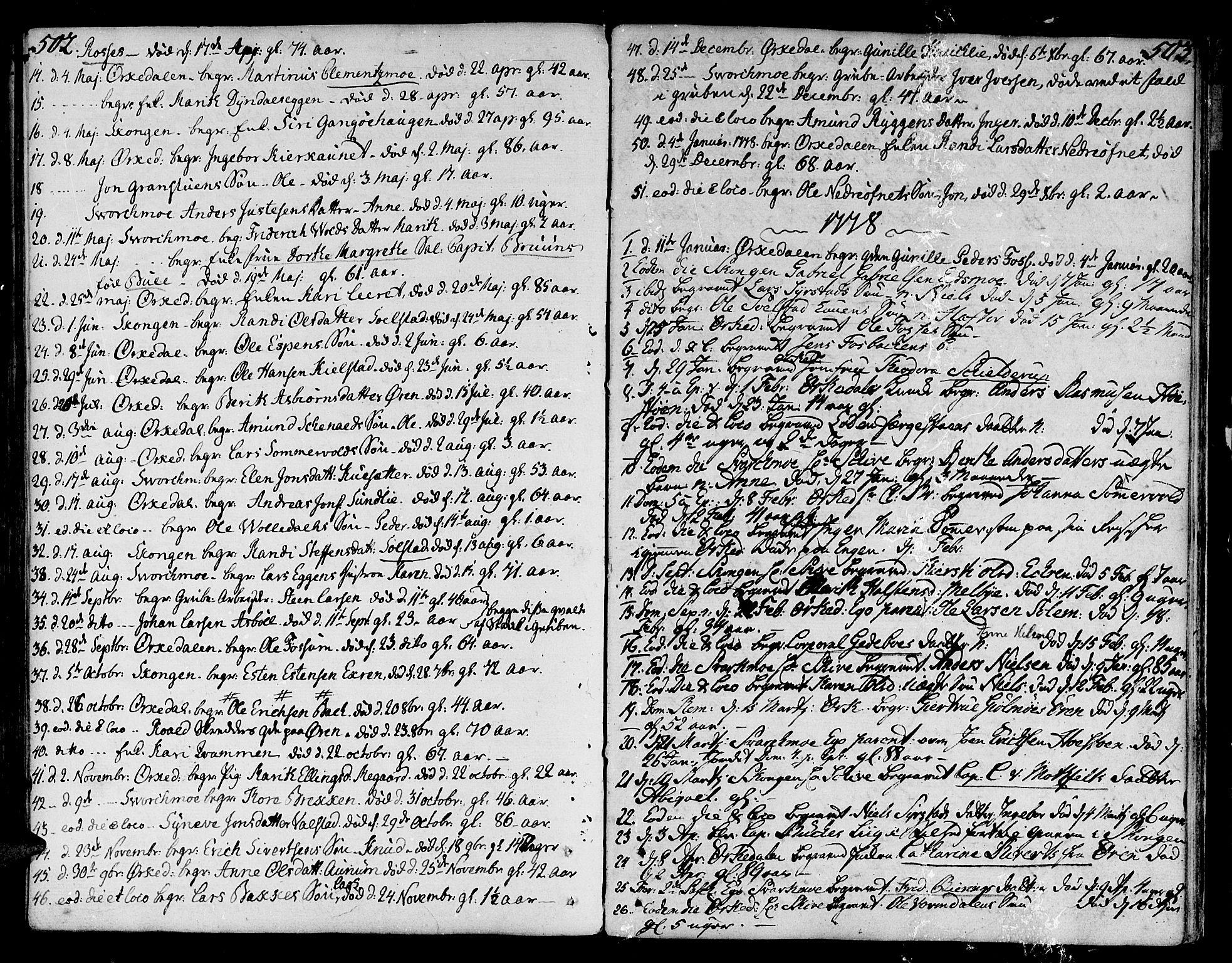 SAT, Ministerialprotokoller, klokkerbøker og fødselsregistre - Sør-Trøndelag, 668/L0802: Ministerialbok nr. 668A02, 1776-1799, s. 502-503
