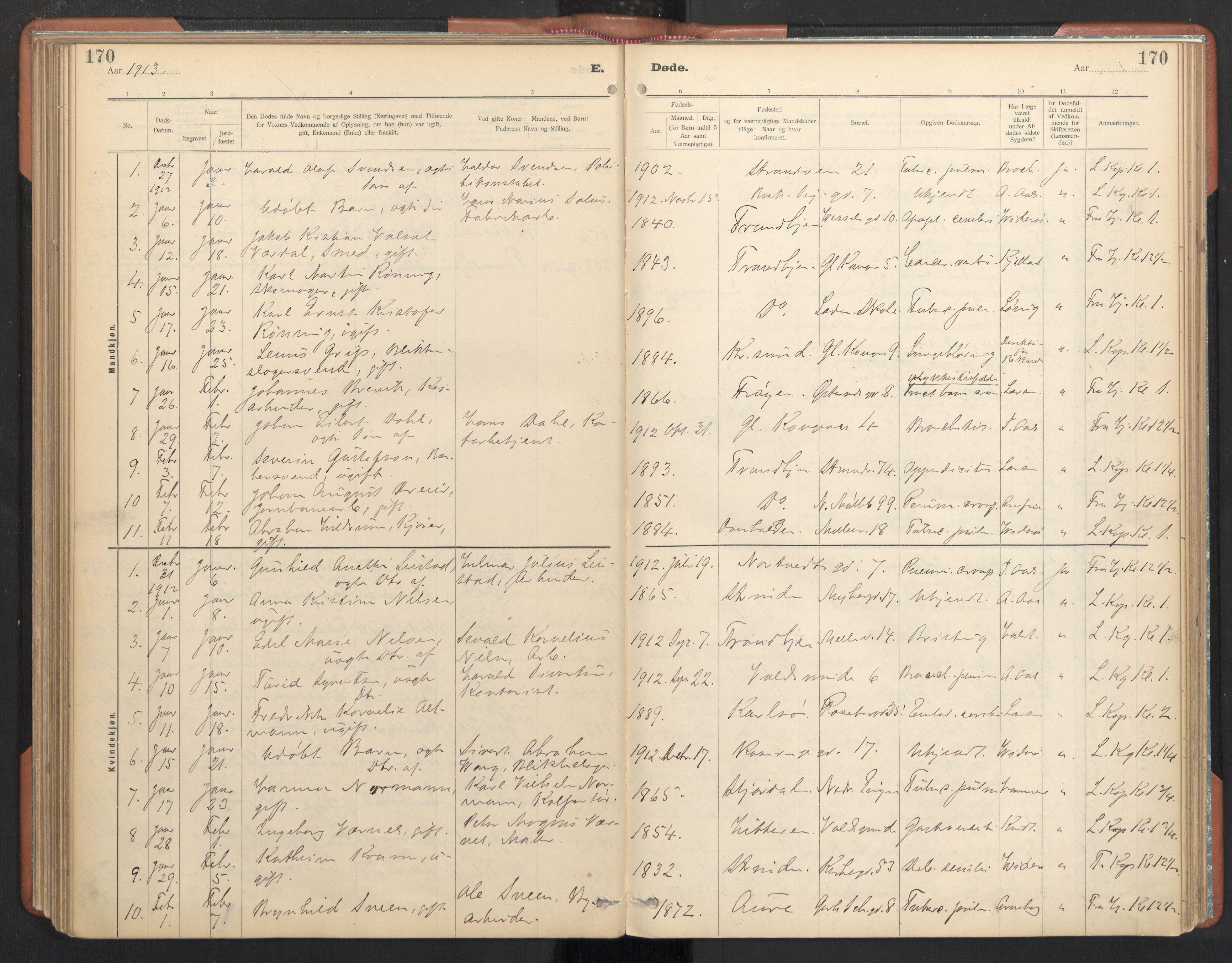 SAT, Ministerialprotokoller, klokkerbøker og fødselsregistre - Sør-Trøndelag, 605/L0244: Ministerialbok nr. 605A06, 1908-1954, s. 170