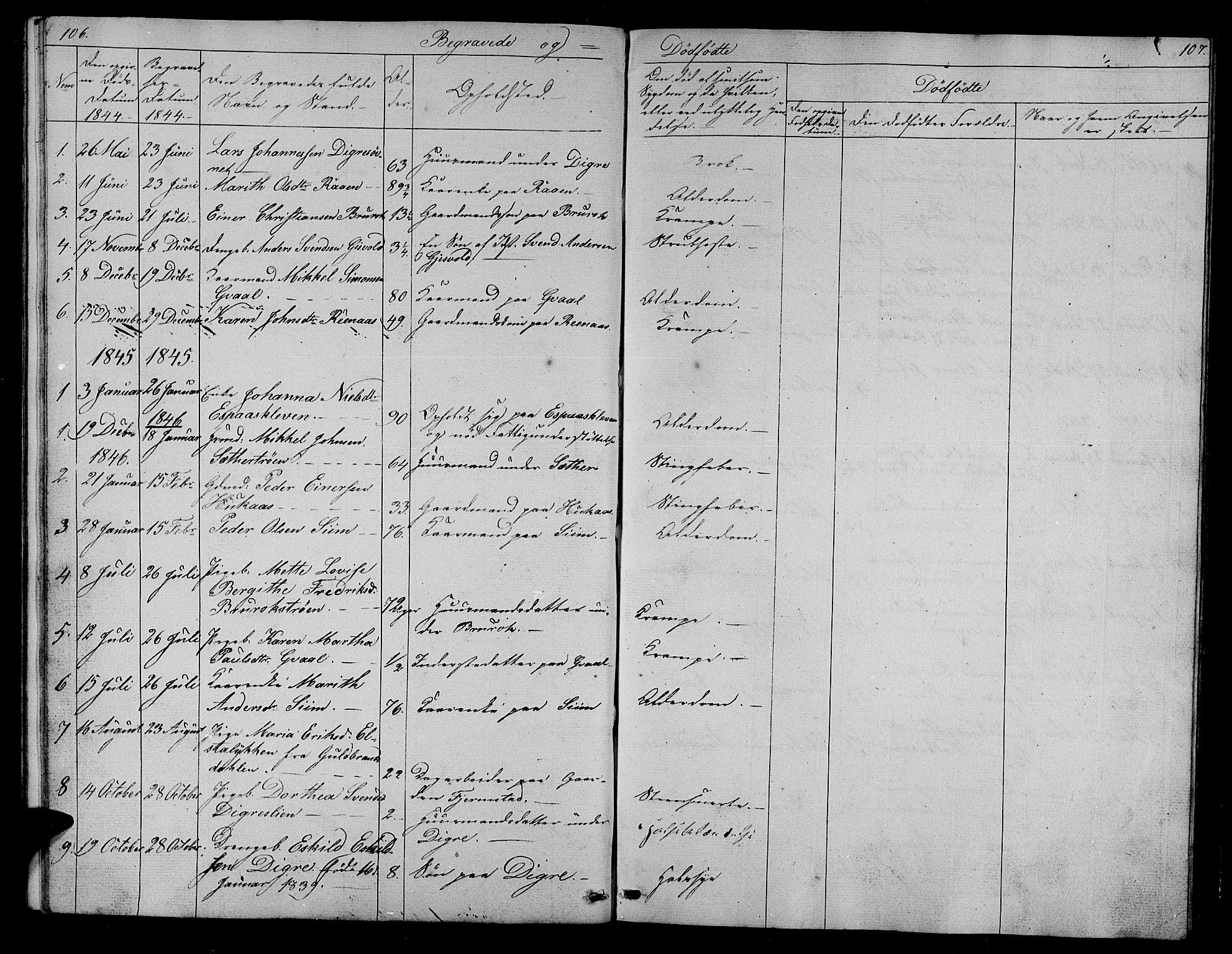 SAT, Ministerialprotokoller, klokkerbøker og fødselsregistre - Sør-Trøndelag, 608/L0339: Klokkerbok nr. 608C05, 1844-1863, s. 106-107