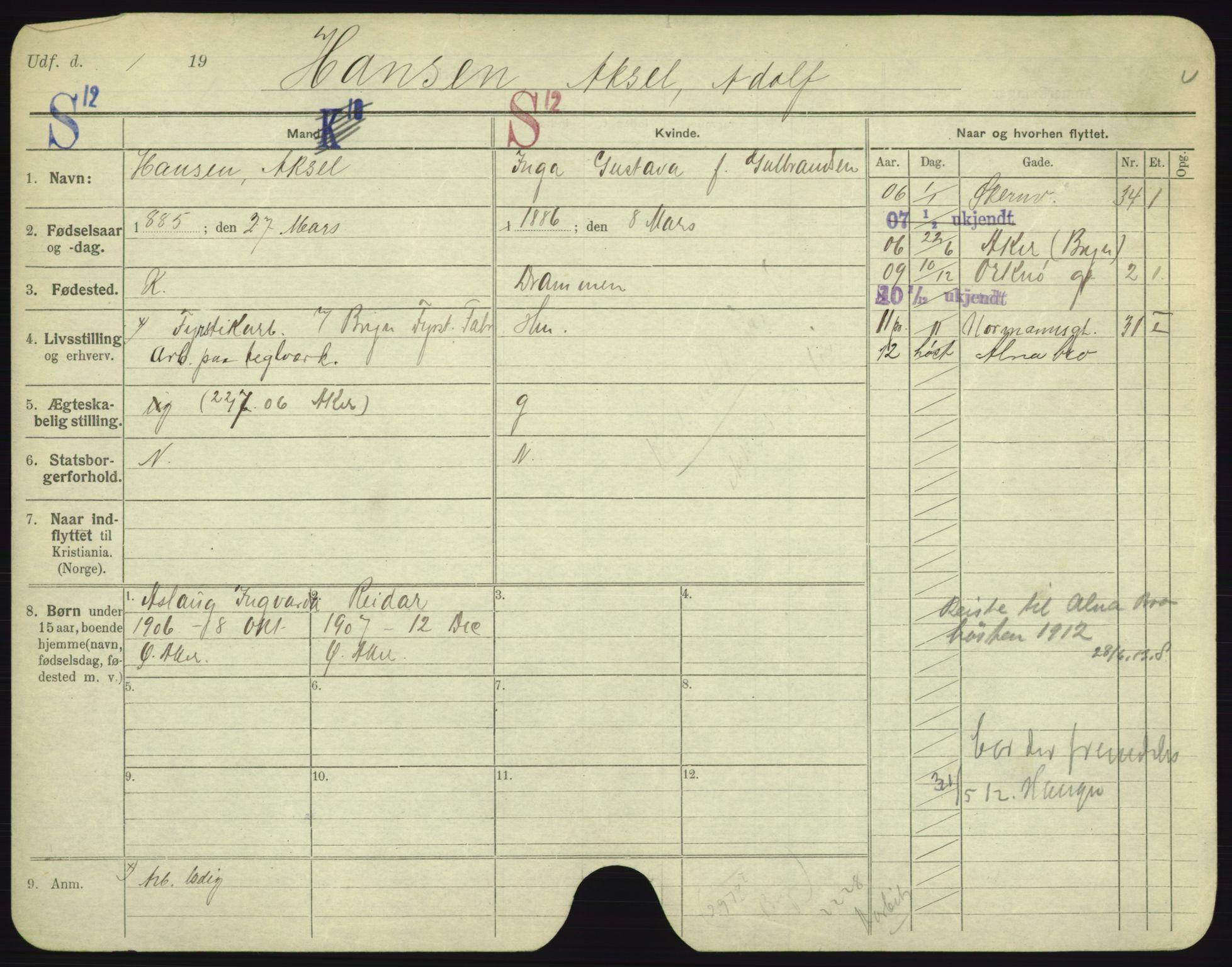 SAO, Oslo folkeregister, Registerkort, F/Fa/Fac/L0003: Menn, 1906-1914, s. 1201a