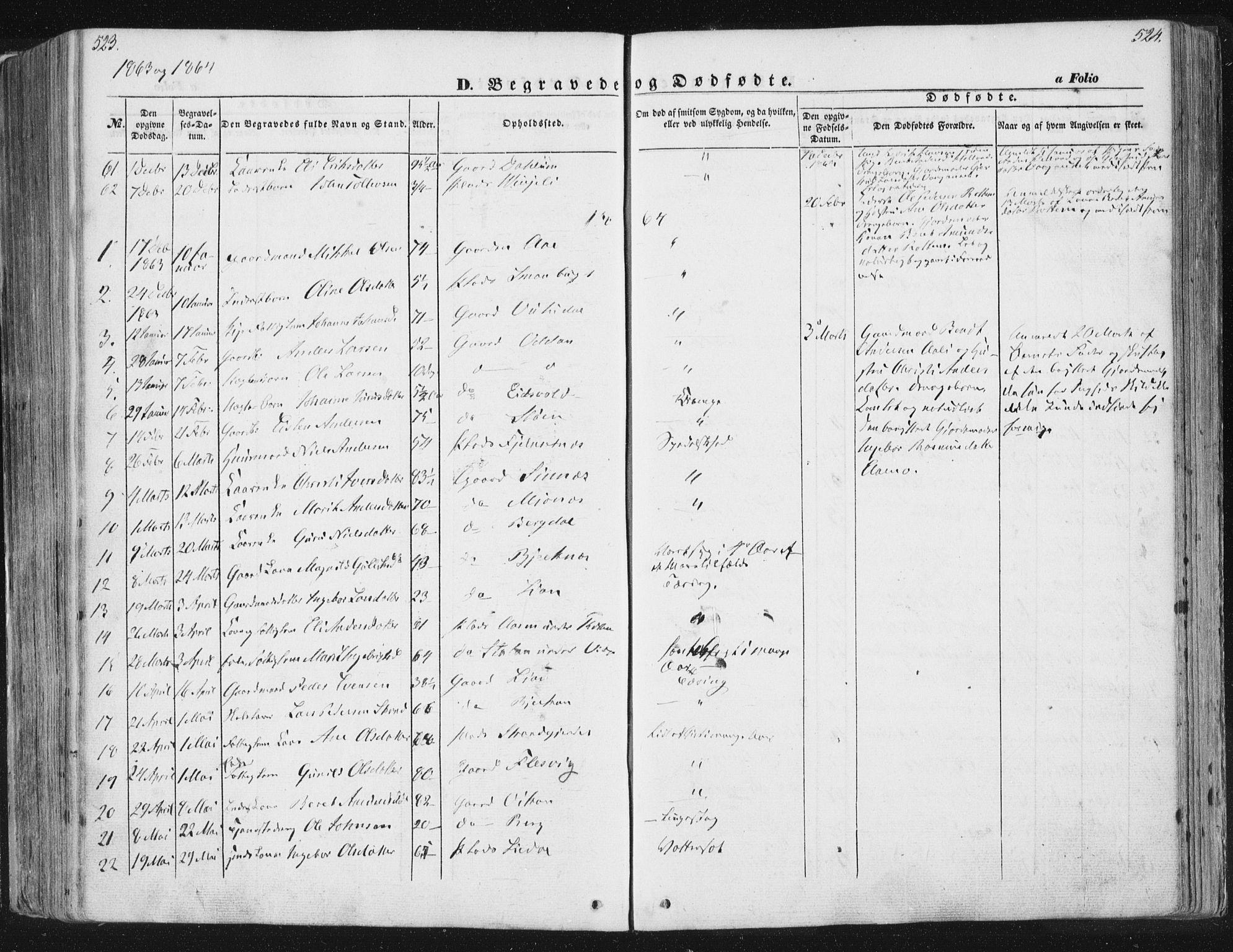 SAT, Ministerialprotokoller, klokkerbøker og fødselsregistre - Sør-Trøndelag, 630/L0494: Ministerialbok nr. 630A07, 1852-1868, s. 523-524