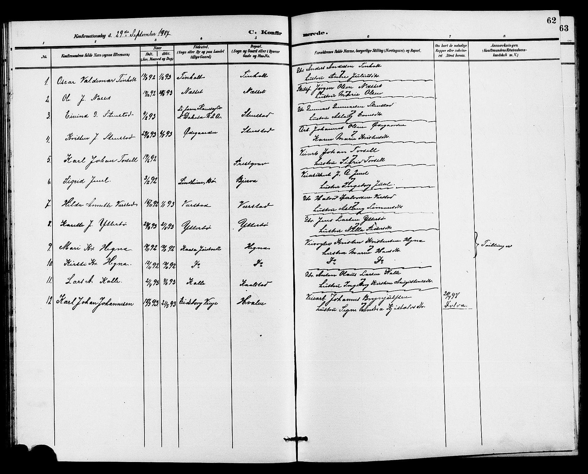 SAKO, Holla kirkebøker, G/Gb/L0002: Klokkerbok nr. II 2, 1897-1913, s. 62