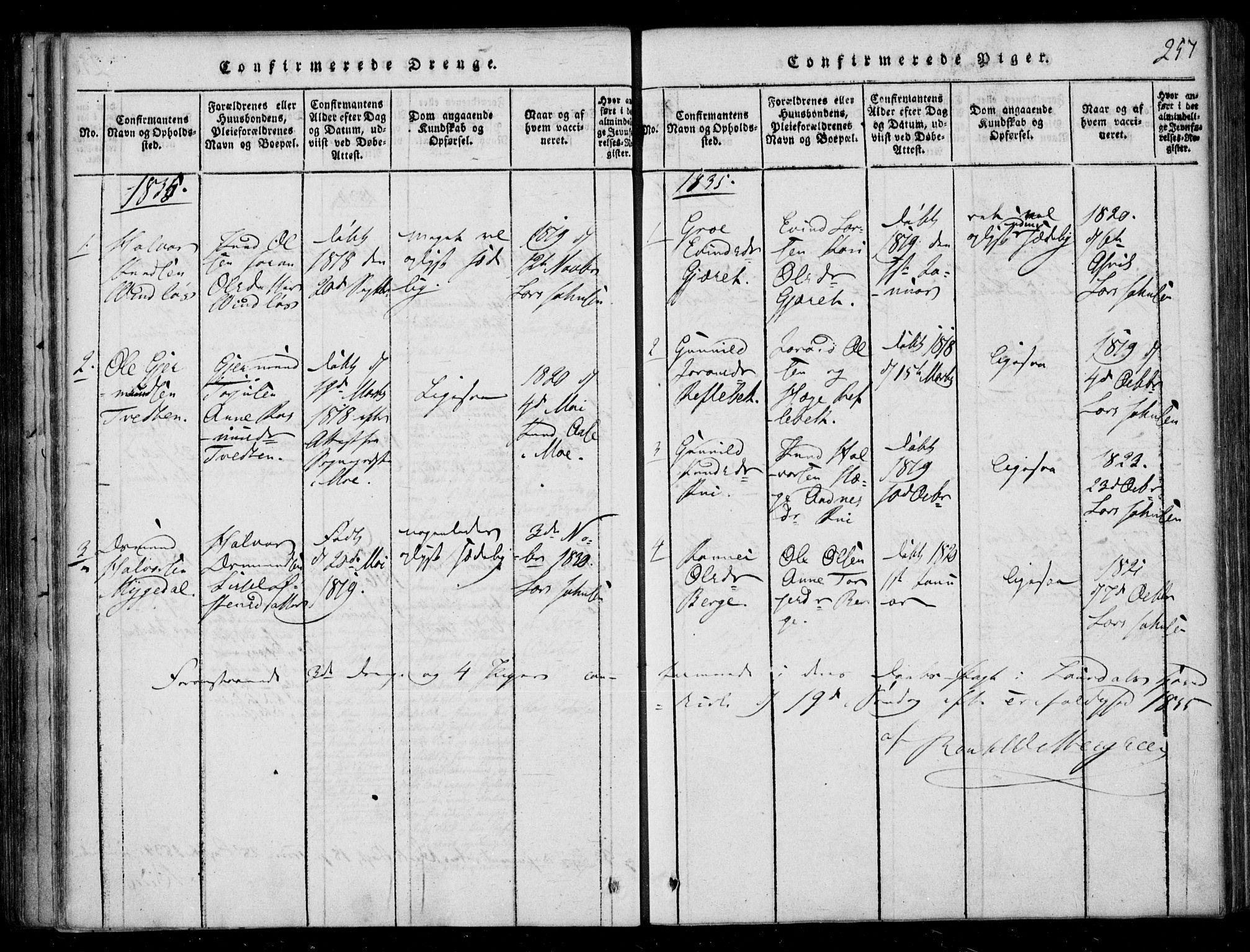 SAKO, Lårdal kirkebøker, F/Fb/L0001: Ministerialbok nr. II 1, 1815-1860, s. 257