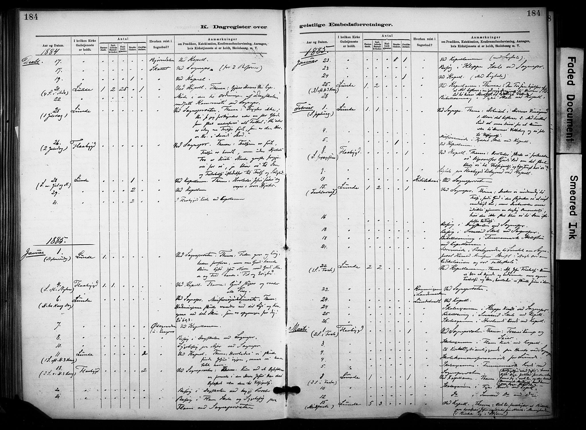 SAKO, Lunde kirkebøker, F/Fa/L0002: Ministerialbok nr. I 2, 1884-1892, s. 184