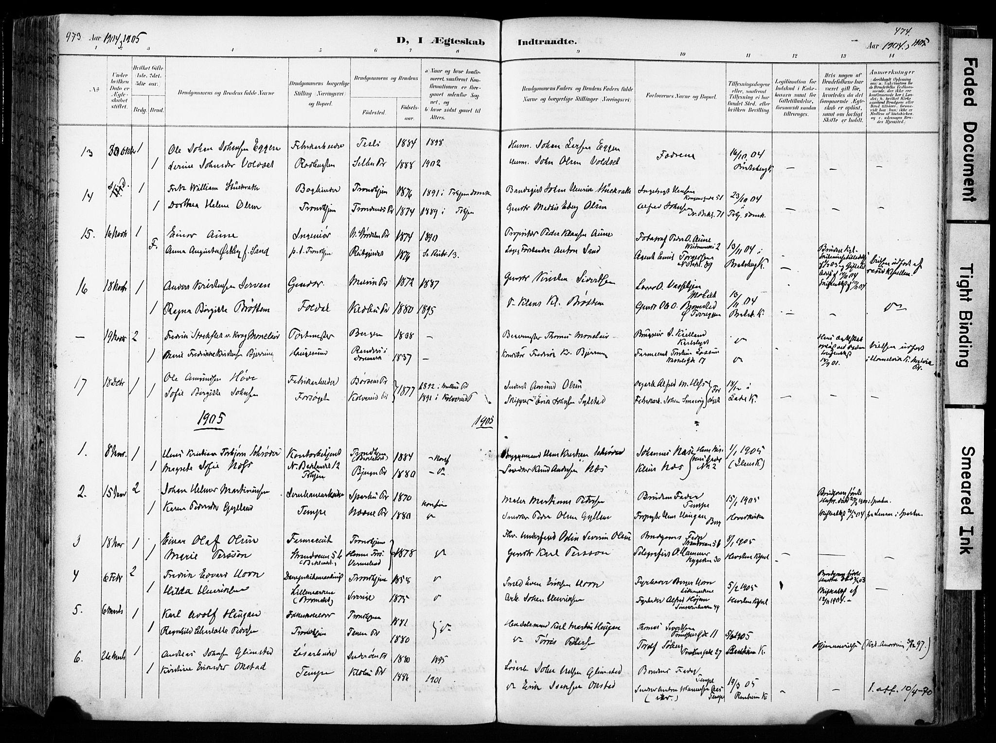 SAT, Ministerialprotokoller, klokkerbøker og fødselsregistre - Sør-Trøndelag, 606/L0301: Ministerialbok nr. 606A16, 1894-1907, s. 473-474
