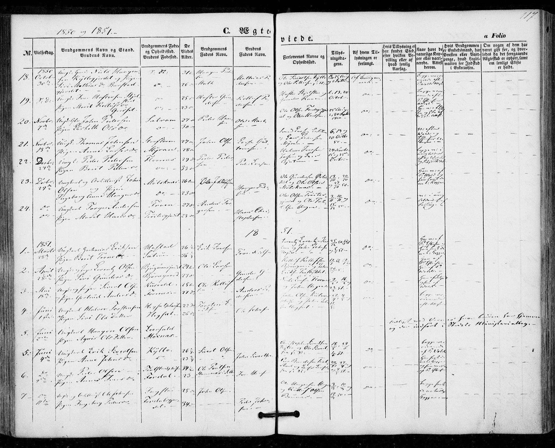 SAT, Ministerialprotokoller, klokkerbøker og fødselsregistre - Nord-Trøndelag, 703/L0028: Ministerialbok nr. 703A01, 1850-1862, s. 117