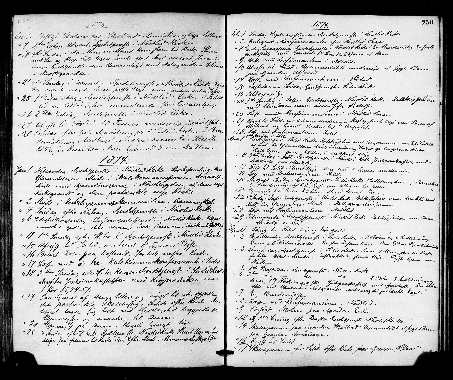 SAT, Ministerialprotokoller, klokkerbøker og fødselsregistre - Nord-Trøndelag, 755/L0493: Ministerialbok nr. 755A02, 1865-1881, s. 250