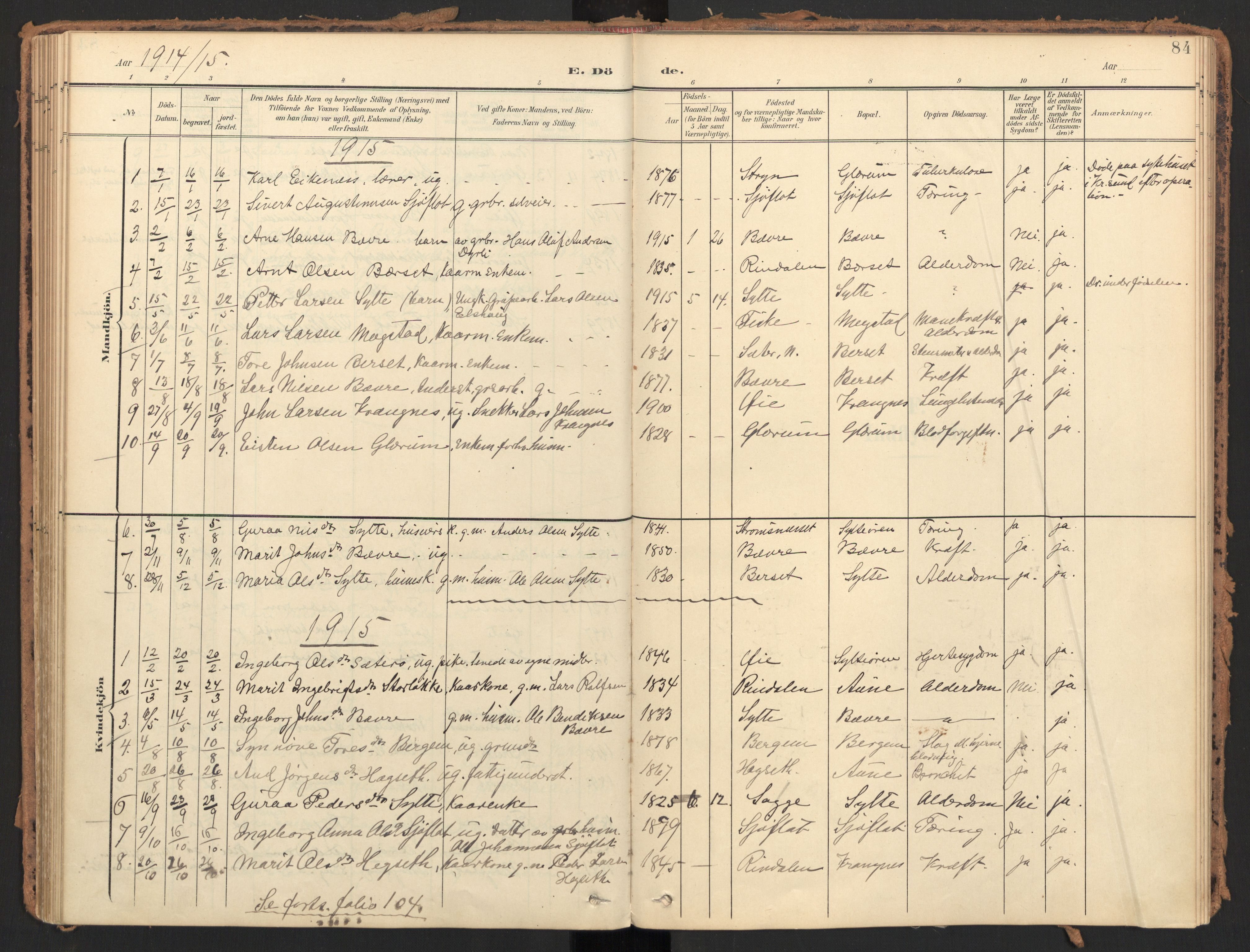 SAT, Ministerialprotokoller, klokkerbøker og fødselsregistre - Møre og Romsdal, 595/L1048: Ministerialbok nr. 595A10, 1900-1917, s. 84