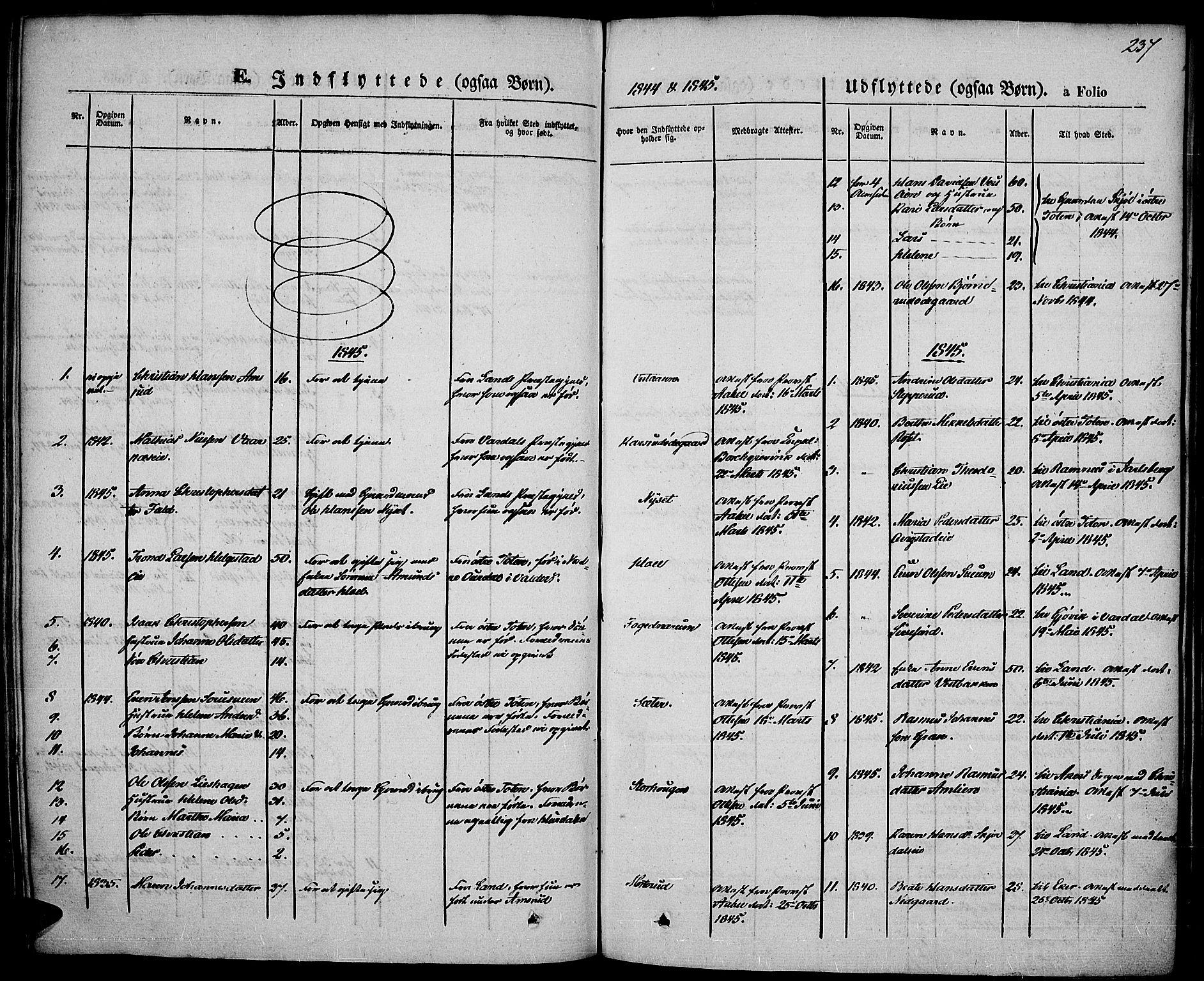 SAH, Vestre Toten prestekontor, Ministerialbok nr. 4, 1844-1849, s. 237