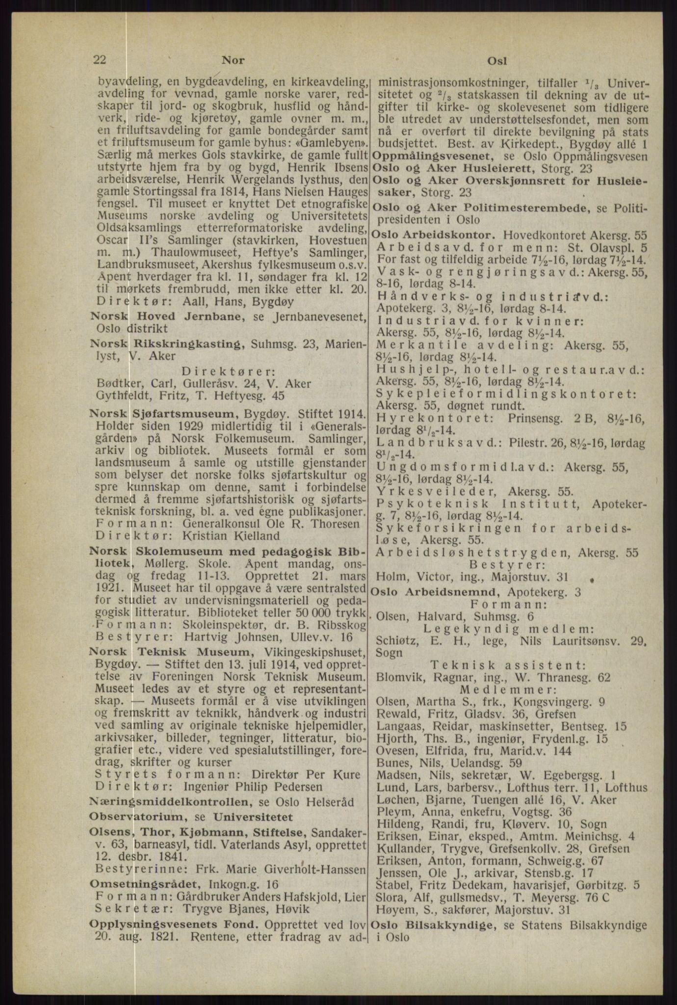 RA, Oslo adressebok (publikasjon)*, 1944, s. 22
