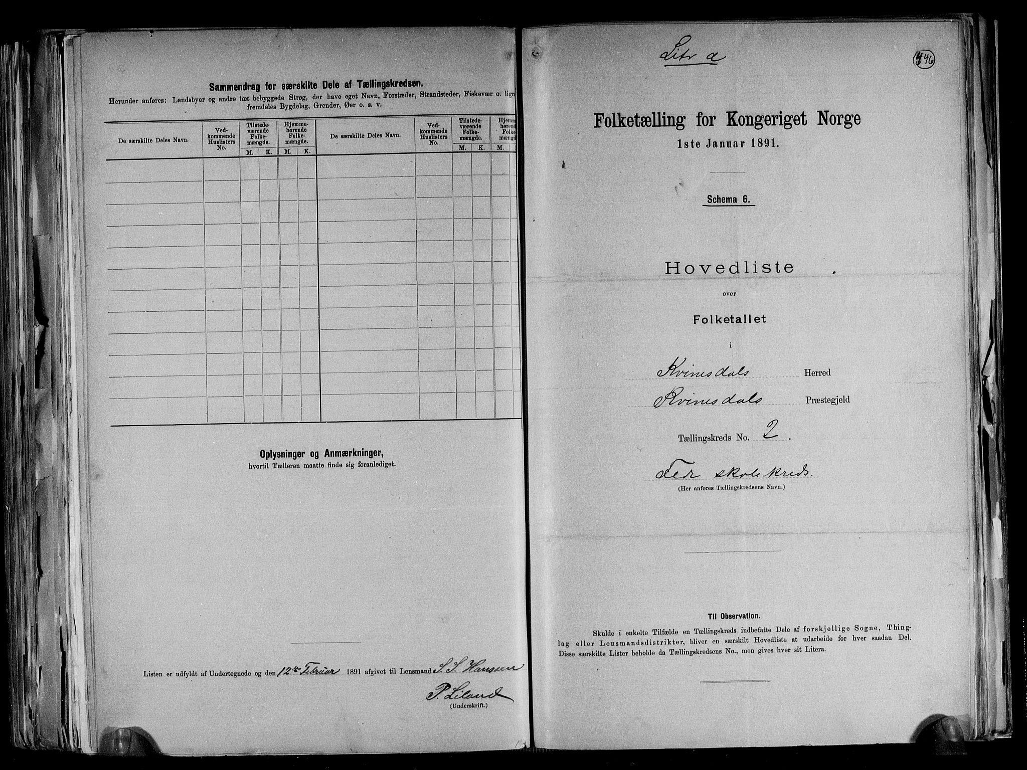 RA, Folketelling 1891 for 1037 Kvinesdal herred, 1891, s. 8