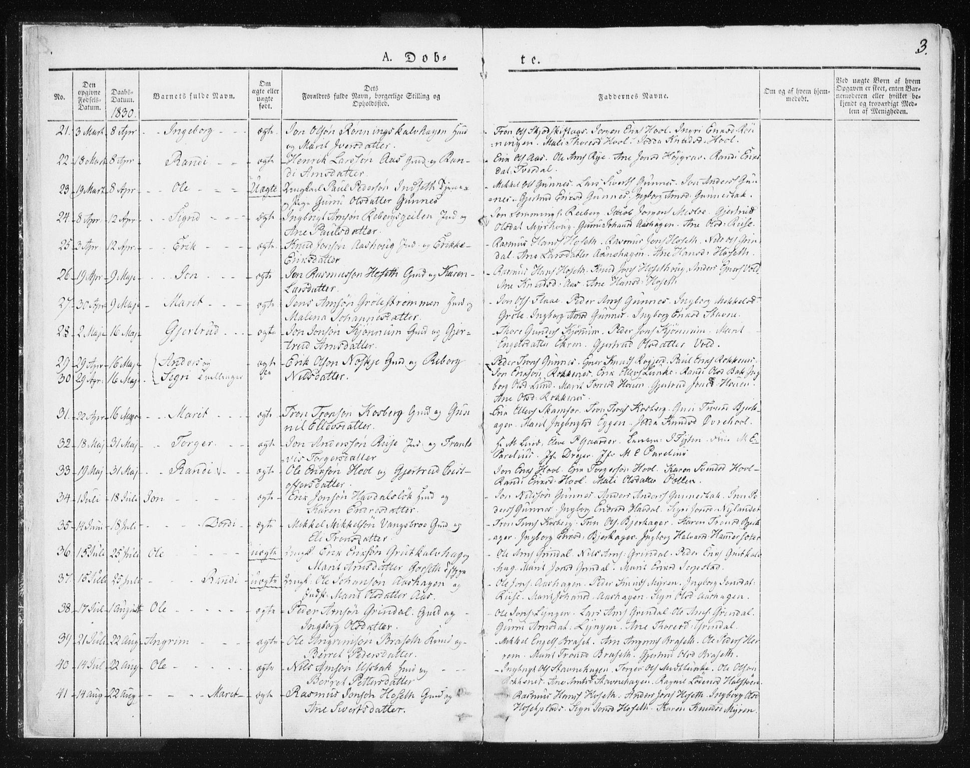 SAT, Ministerialprotokoller, klokkerbøker og fødselsregistre - Sør-Trøndelag, 674/L0869: Ministerialbok nr. 674A01, 1829-1860, s. 3