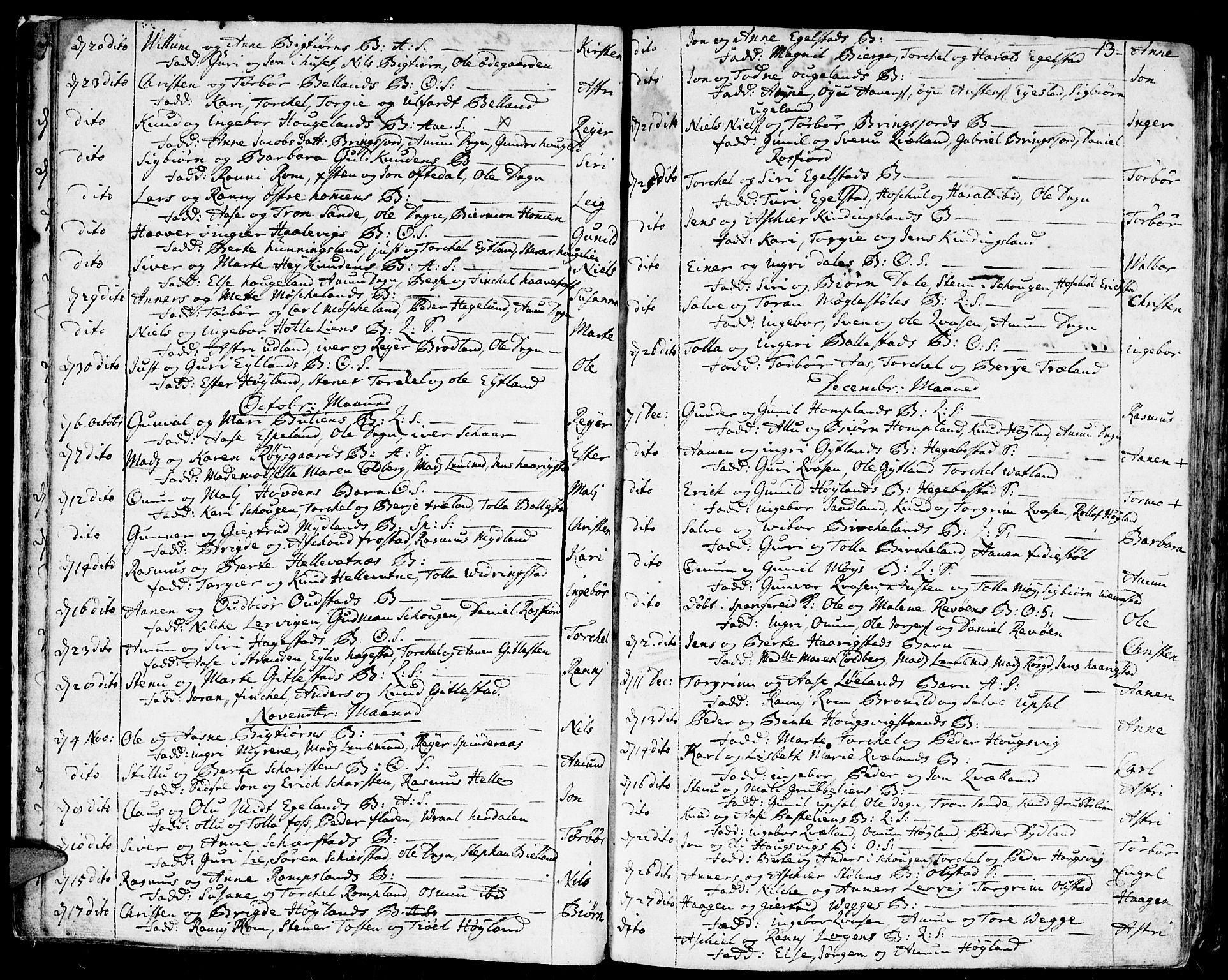 SAK, Lyngdal sokneprestkontor, F/Fa/Fac/L0001: Ministerialbok nr. A 1, 1727-1779, s. 13