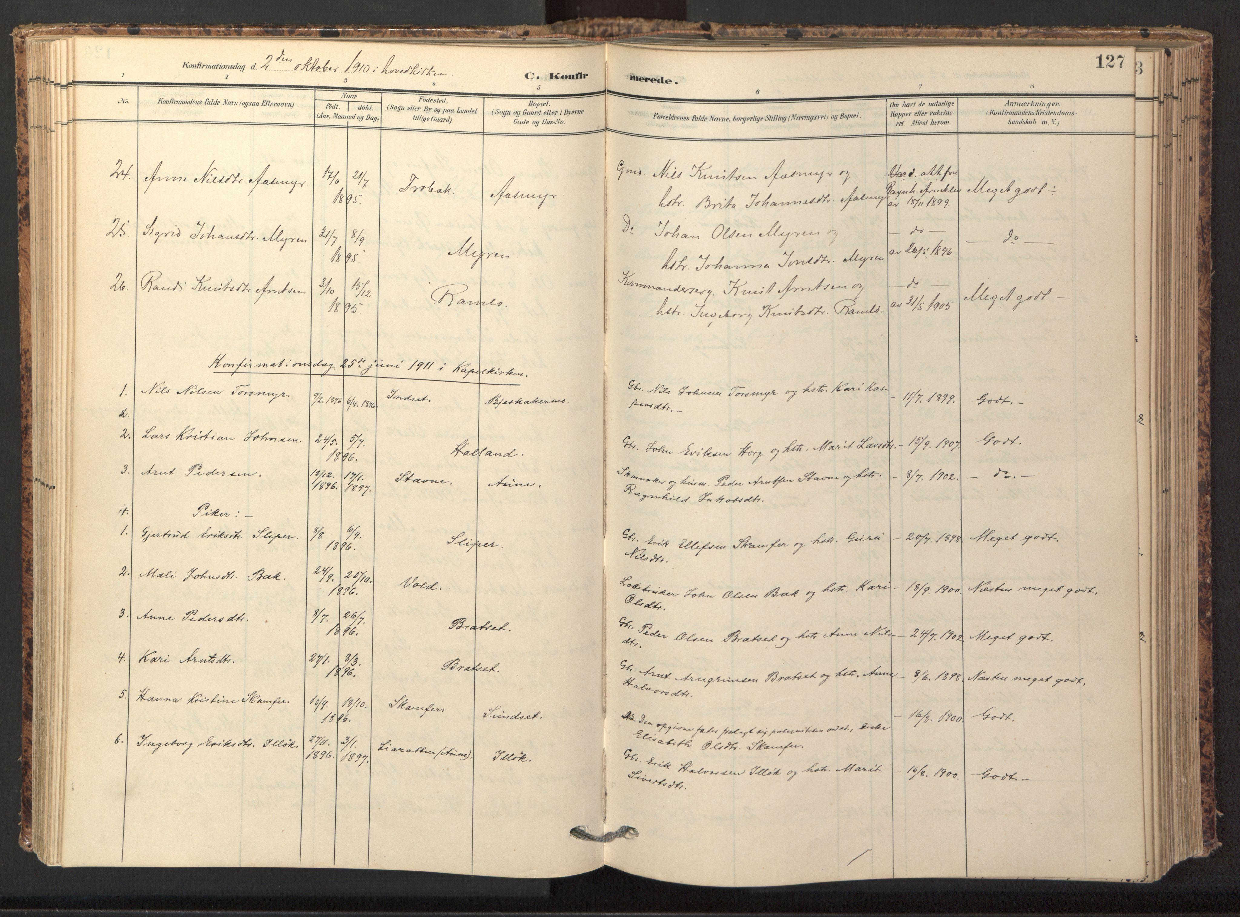 SAT, Ministerialprotokoller, klokkerbøker og fødselsregistre - Sør-Trøndelag, 674/L0873: Ministerialbok nr. 674A05, 1908-1923, s. 127
