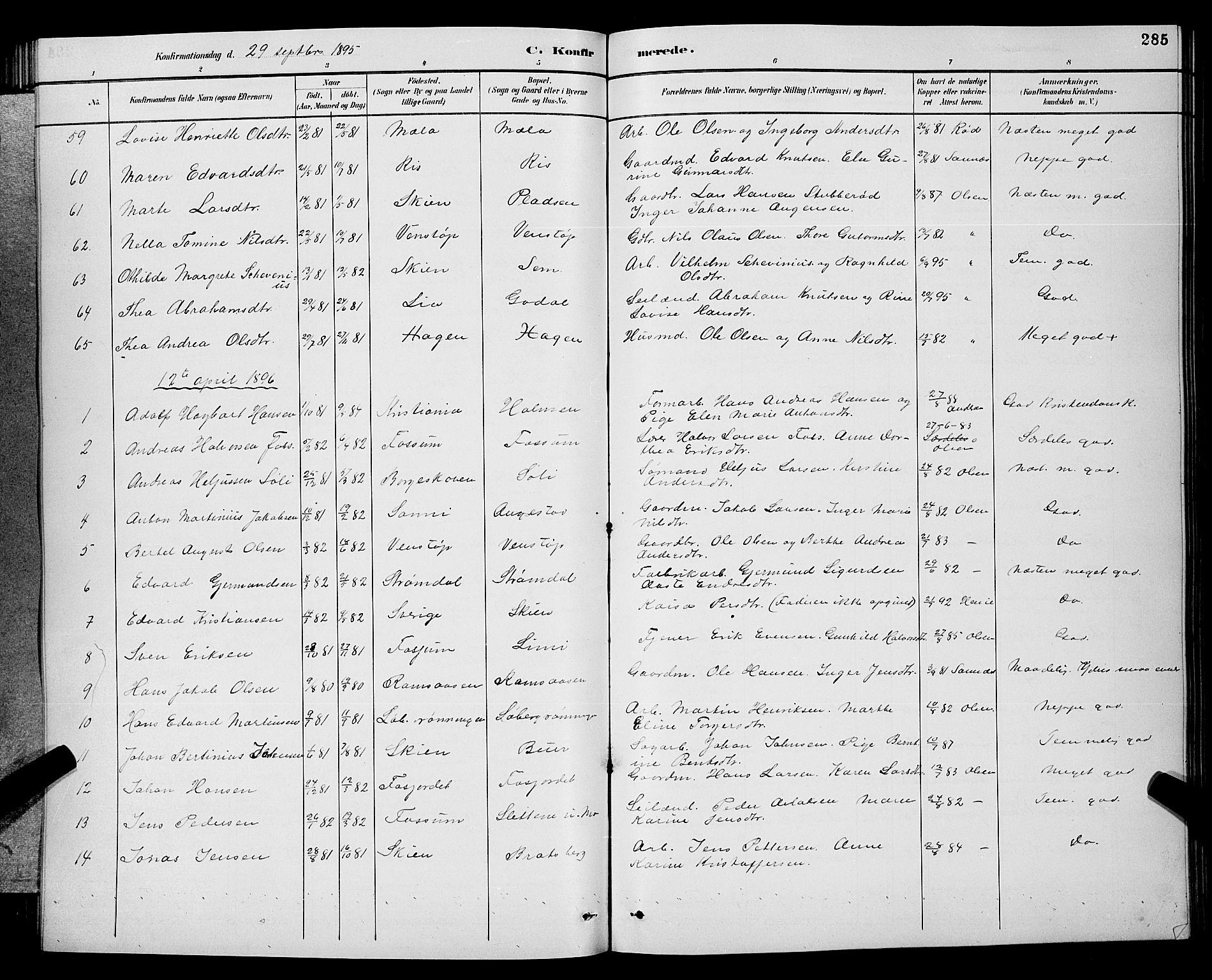 SAKO, Gjerpen kirkebøker, G/Ga/L0002: Klokkerbok nr. I 2, 1883-1900, s. 285