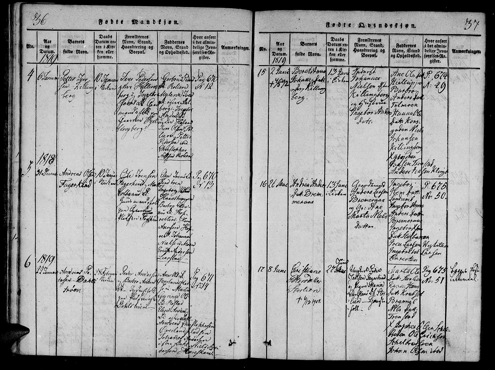 SAT, Ministerialprotokoller, klokkerbøker og fødselsregistre - Nord-Trøndelag, 701/L0005: Ministerialbok nr. 701A05 /1, 1816-1825, s. 36-37