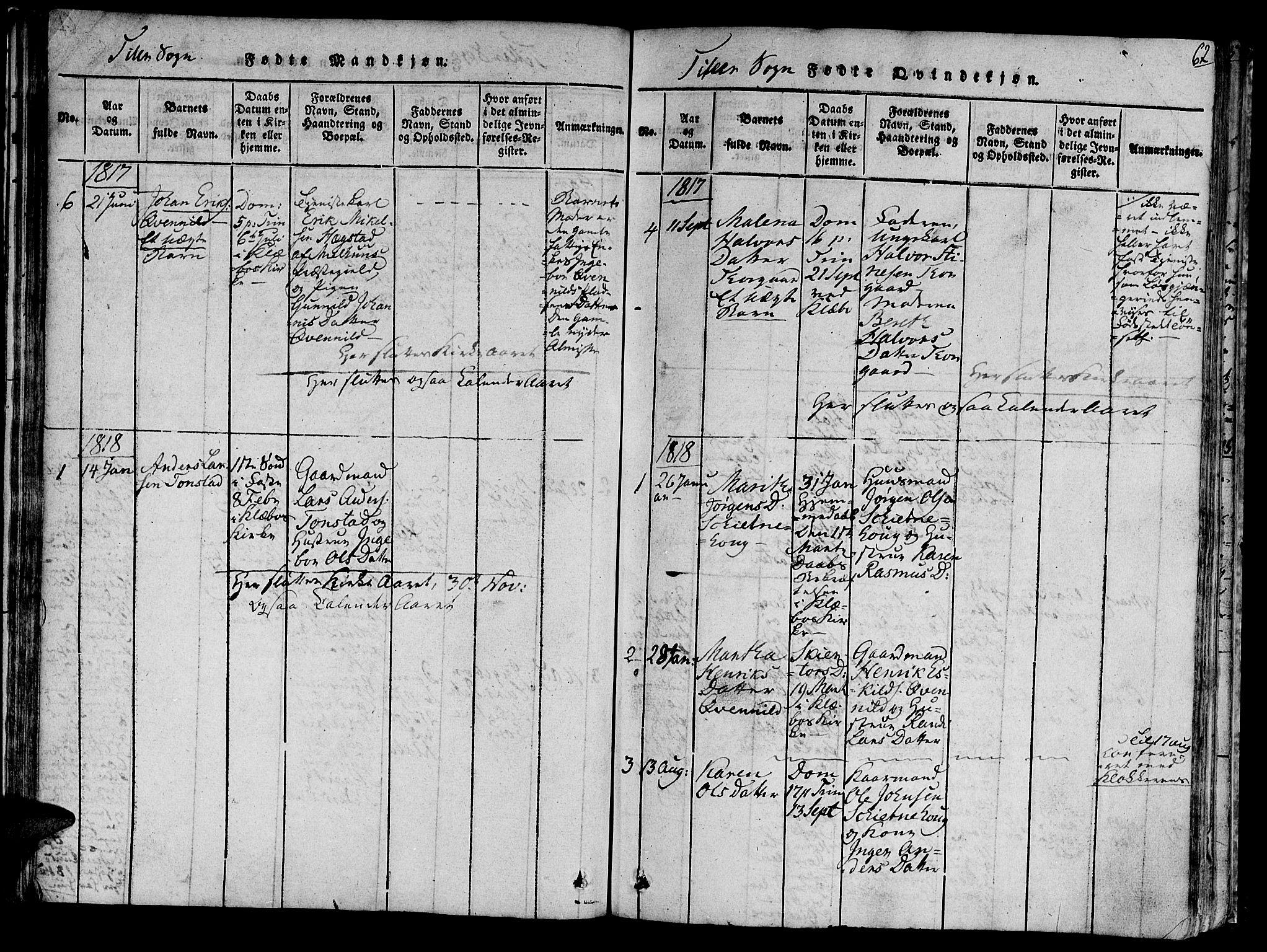 SAT, Ministerialprotokoller, klokkerbøker og fødselsregistre - Sør-Trøndelag, 618/L0440: Ministerialbok nr. 618A04 /2, 1816-1843, s. 62
