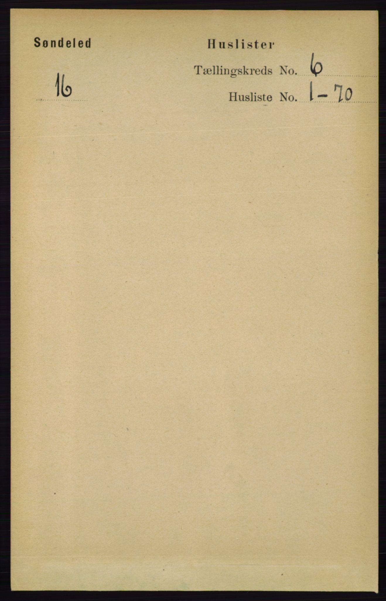 RA, Folketelling 1891 for 0913 Søndeled herred, 1891, s. 1741