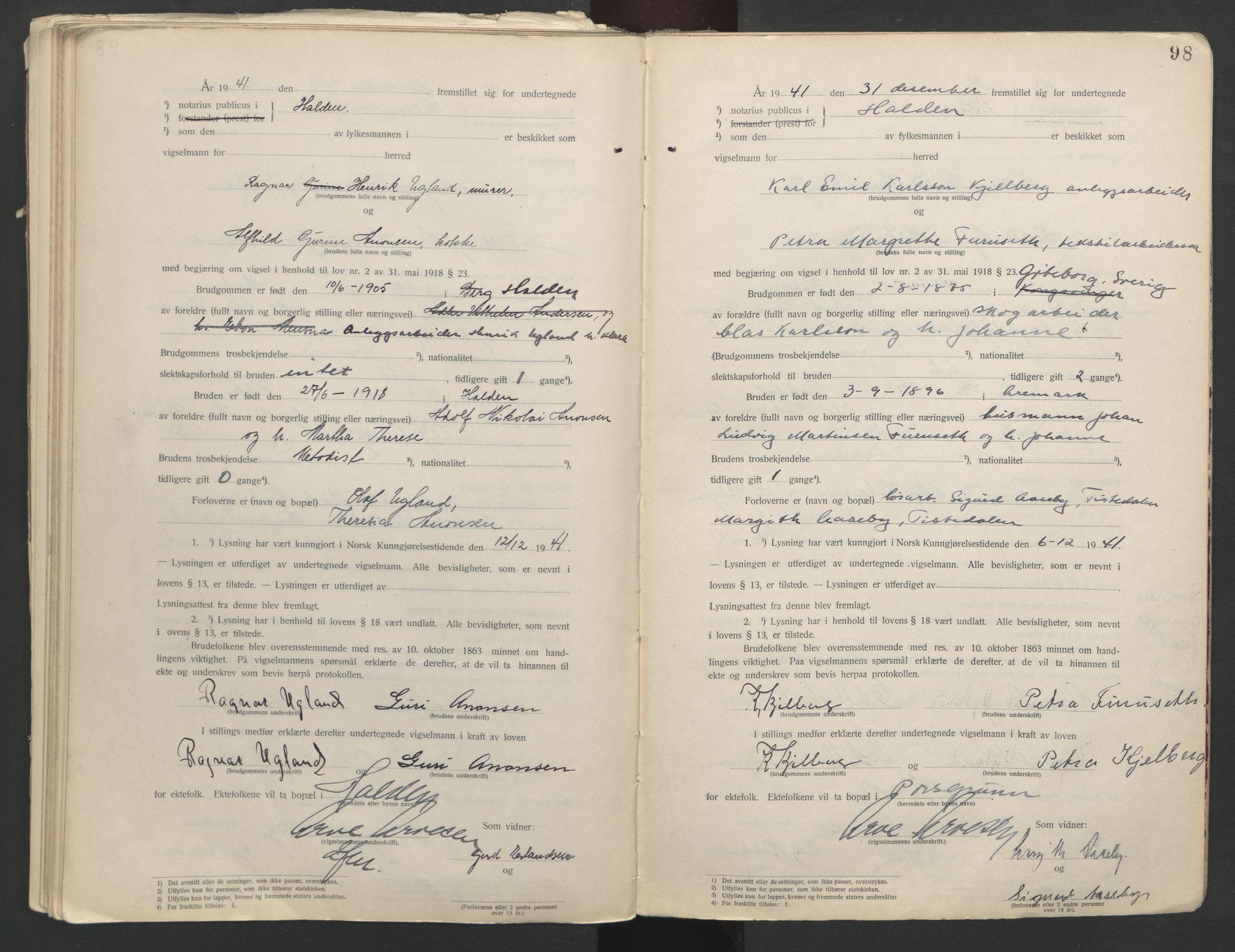 SAO, Idd og Marker sorenskriveri, L/Lc/L0001: Vigselsbøker, 1920-1942, s. 98