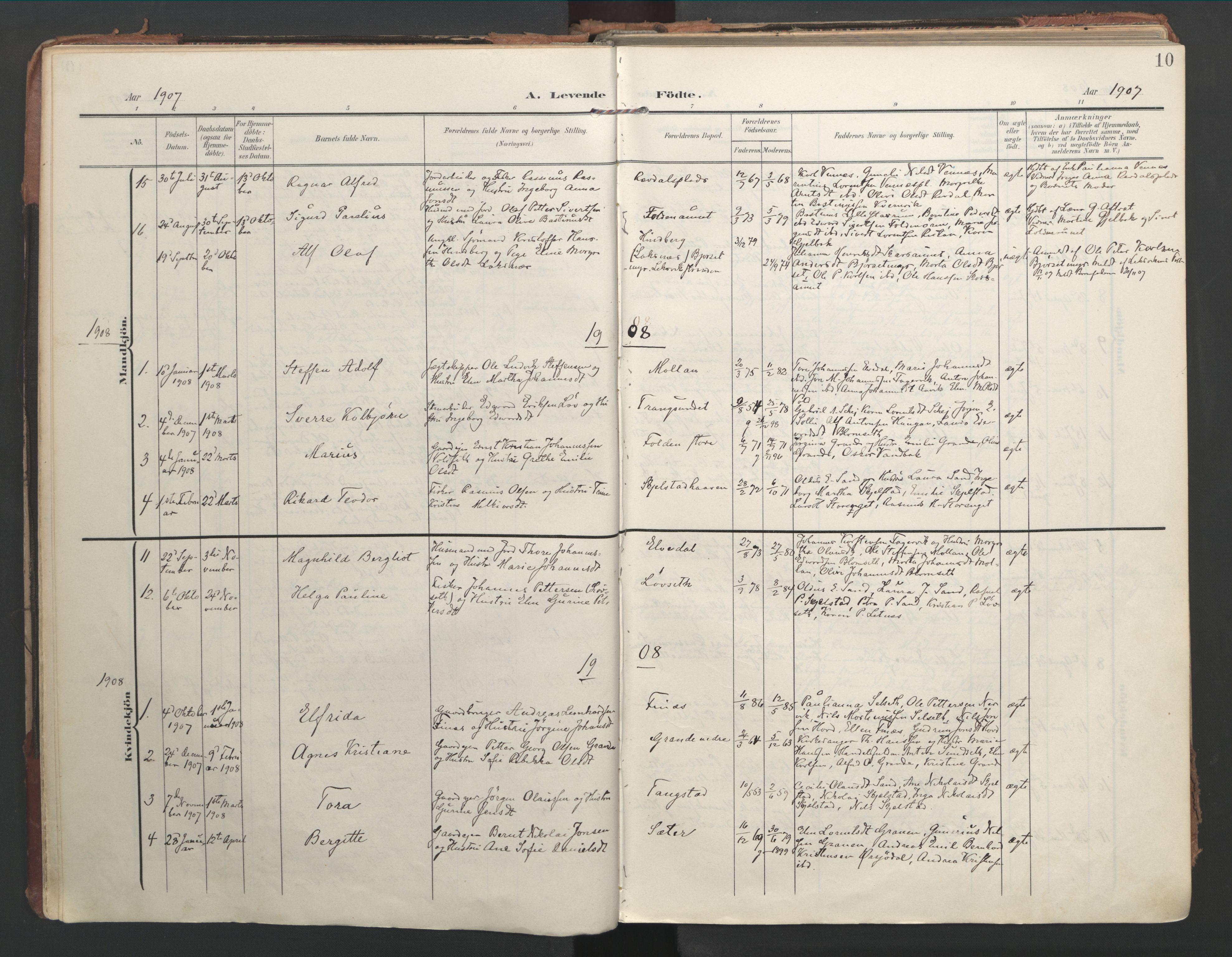 SAT, Ministerialprotokoller, klokkerbøker og fødselsregistre - Nord-Trøndelag, 744/L0421: Ministerialbok nr. 744A05, 1905-1930, s. 10