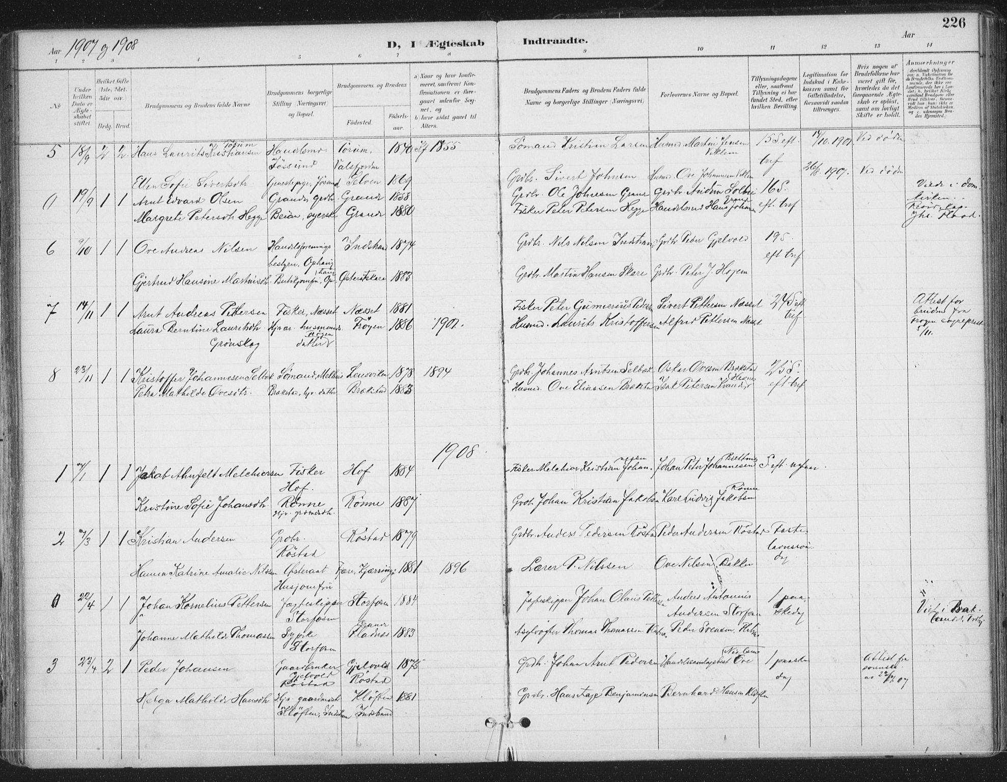 SAT, Ministerialprotokoller, klokkerbøker og fødselsregistre - Sør-Trøndelag, 659/L0743: Ministerialbok nr. 659A13, 1893-1910, s. 226