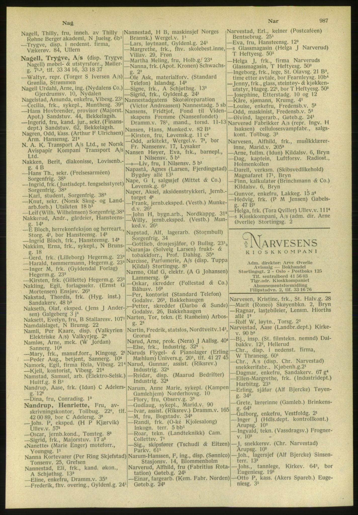 PUBL, Kristiania/Oslo adressebok, 1951, s. 987