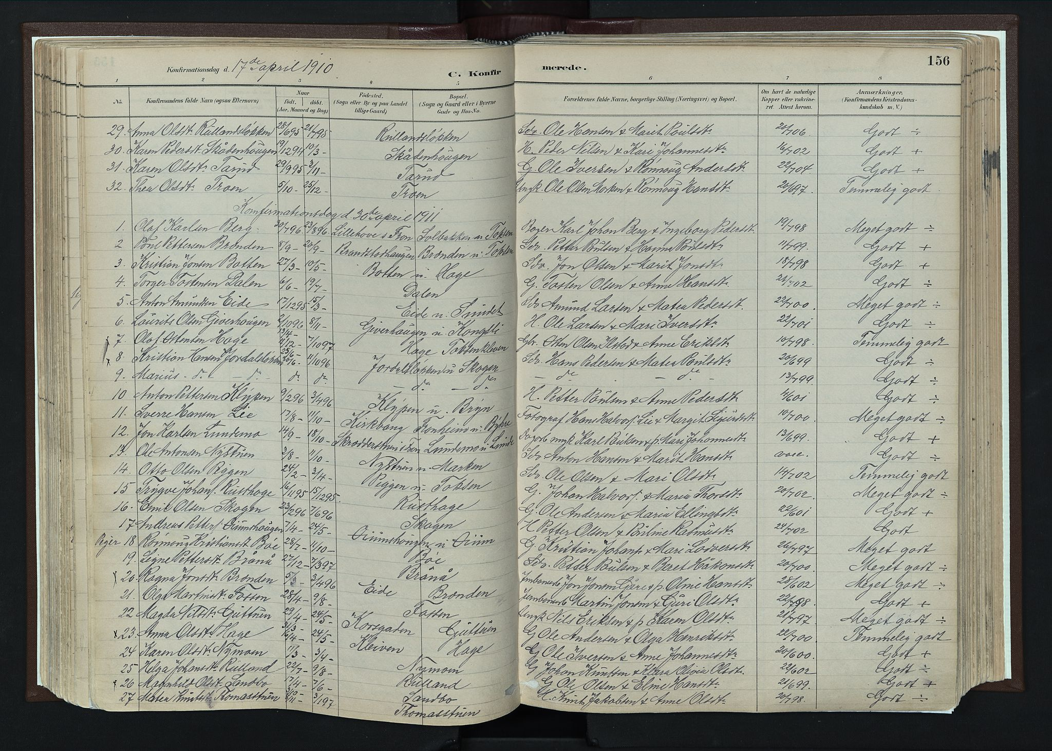 SAH, Nord-Fron prestekontor, Ministerialbok nr. 4, 1884-1914, s. 156