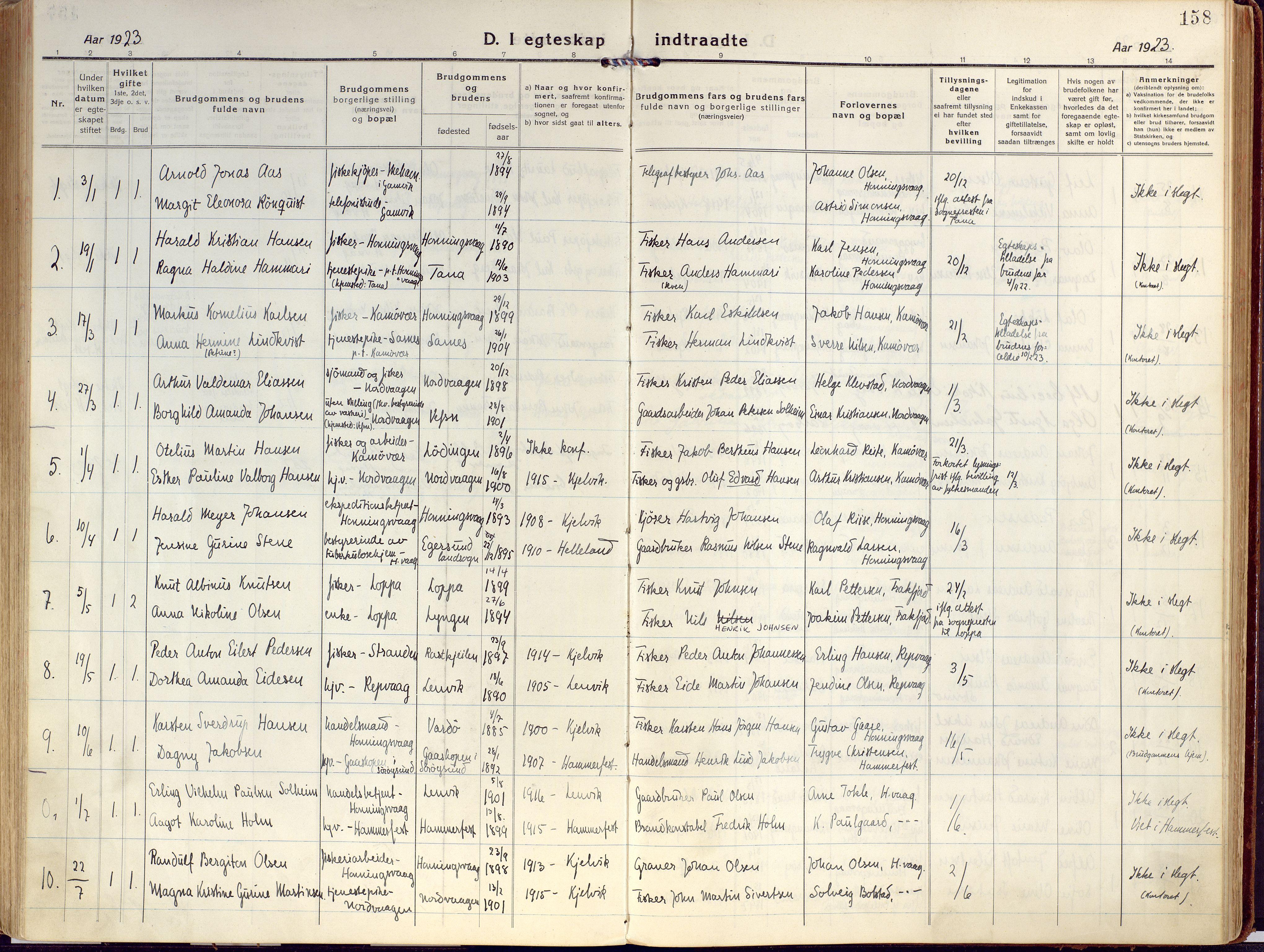 SATØ, Kjelvik/Nordkapp sokneprestkontor, H/Ha/L0002kirke: Ministerialbok nr. 2, 1920-1929, s. 158