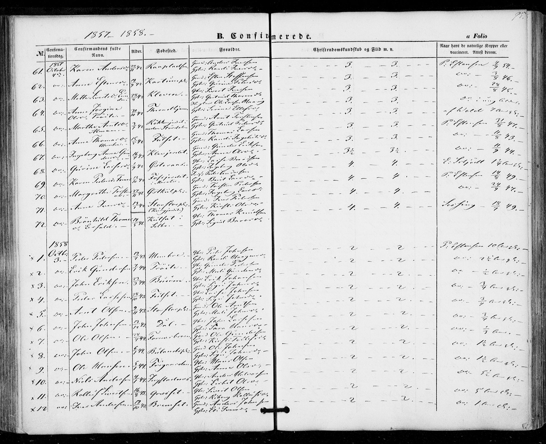SAT, Ministerialprotokoller, klokkerbøker og fødselsregistre - Nord-Trøndelag, 703/L0028: Ministerialbok nr. 703A01, 1850-1862, s. 95