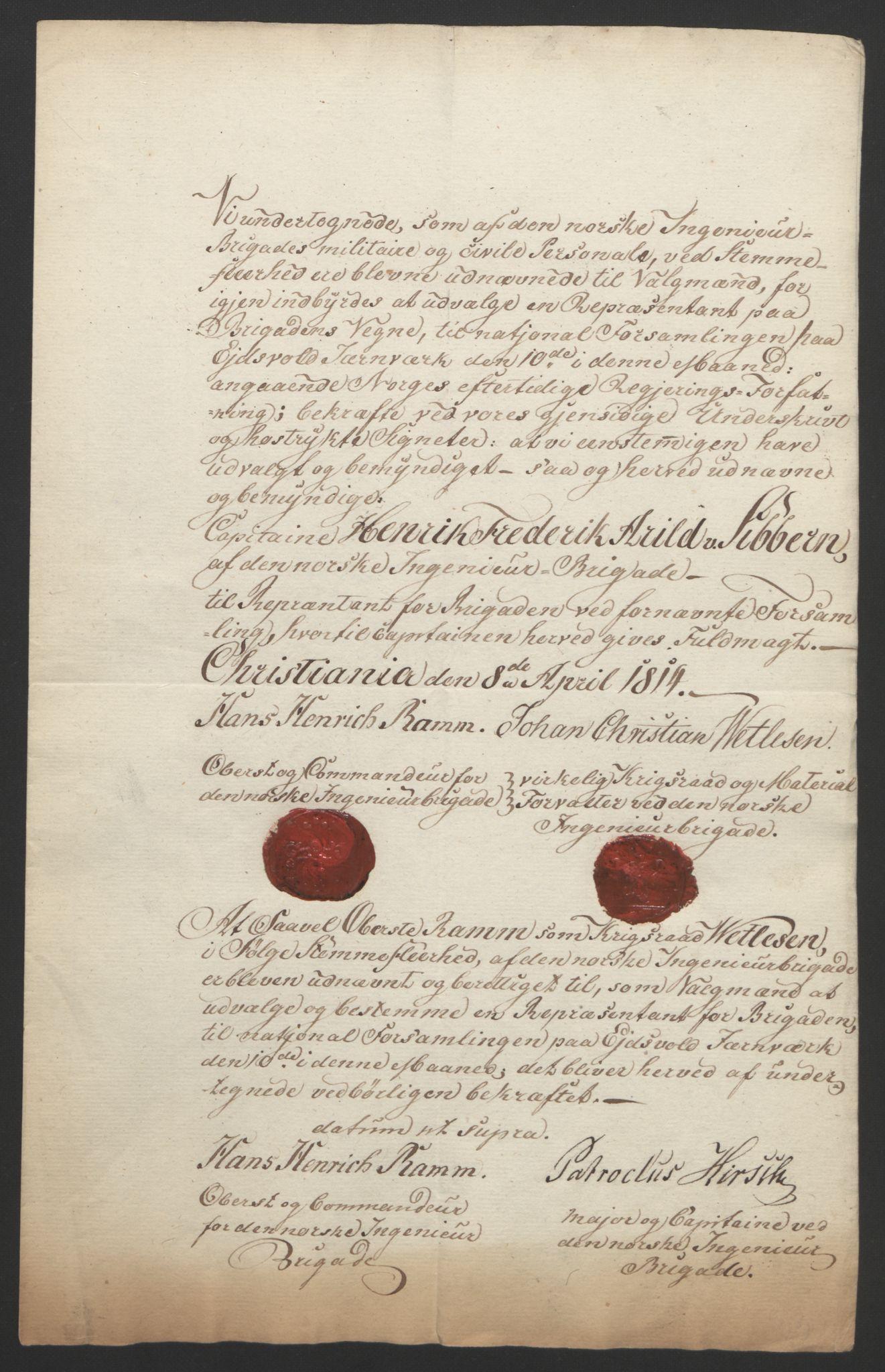 RA, Statsrådssekretariatet, D/Db/L0007: Fullmakter for Eidsvollsrepresentantene i 1814. , 1814, s. 74
