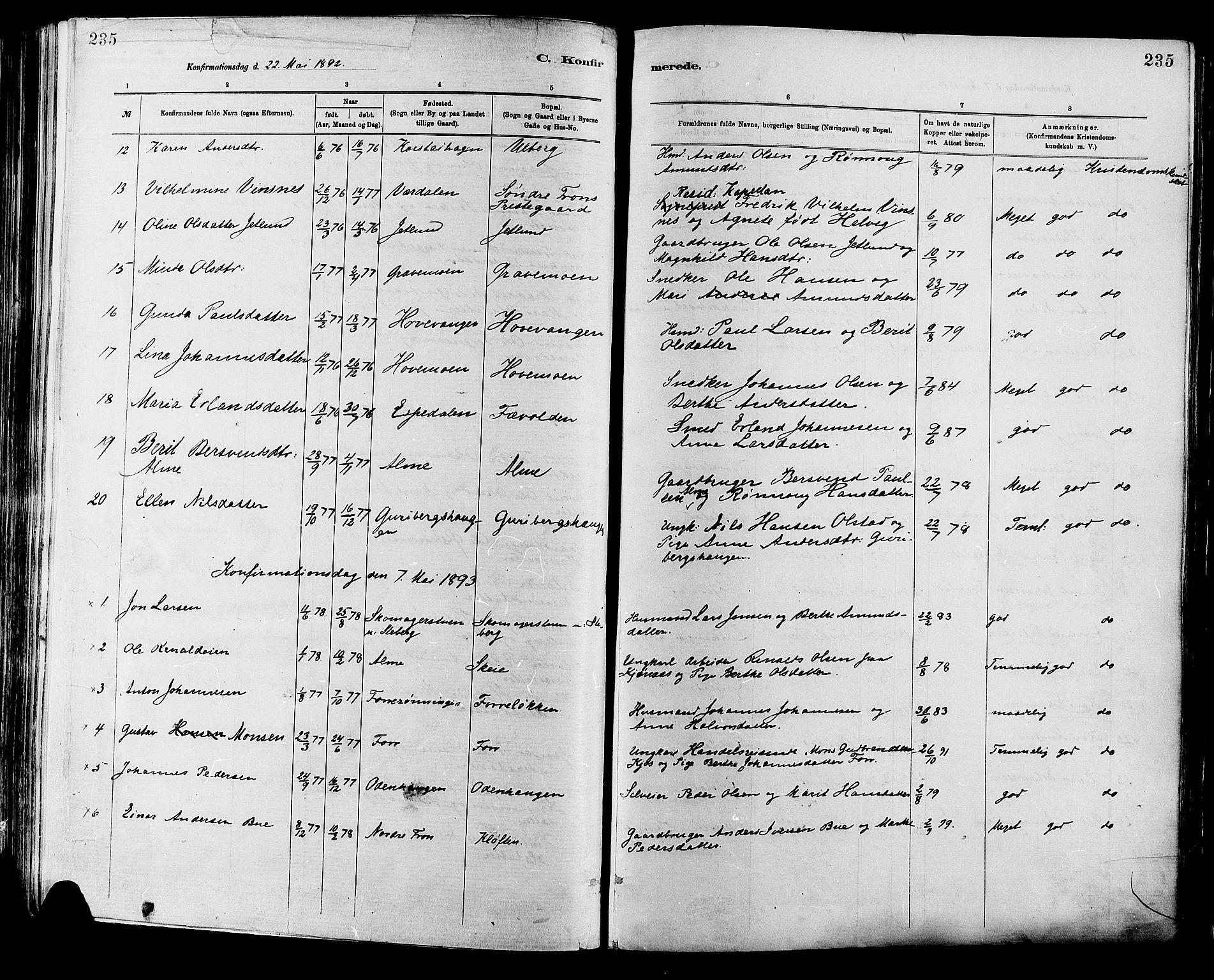 SAH, Sør-Fron prestekontor, H/Ha/Haa/L0003: Ministerialbok nr. 3, 1881-1897, s. 235