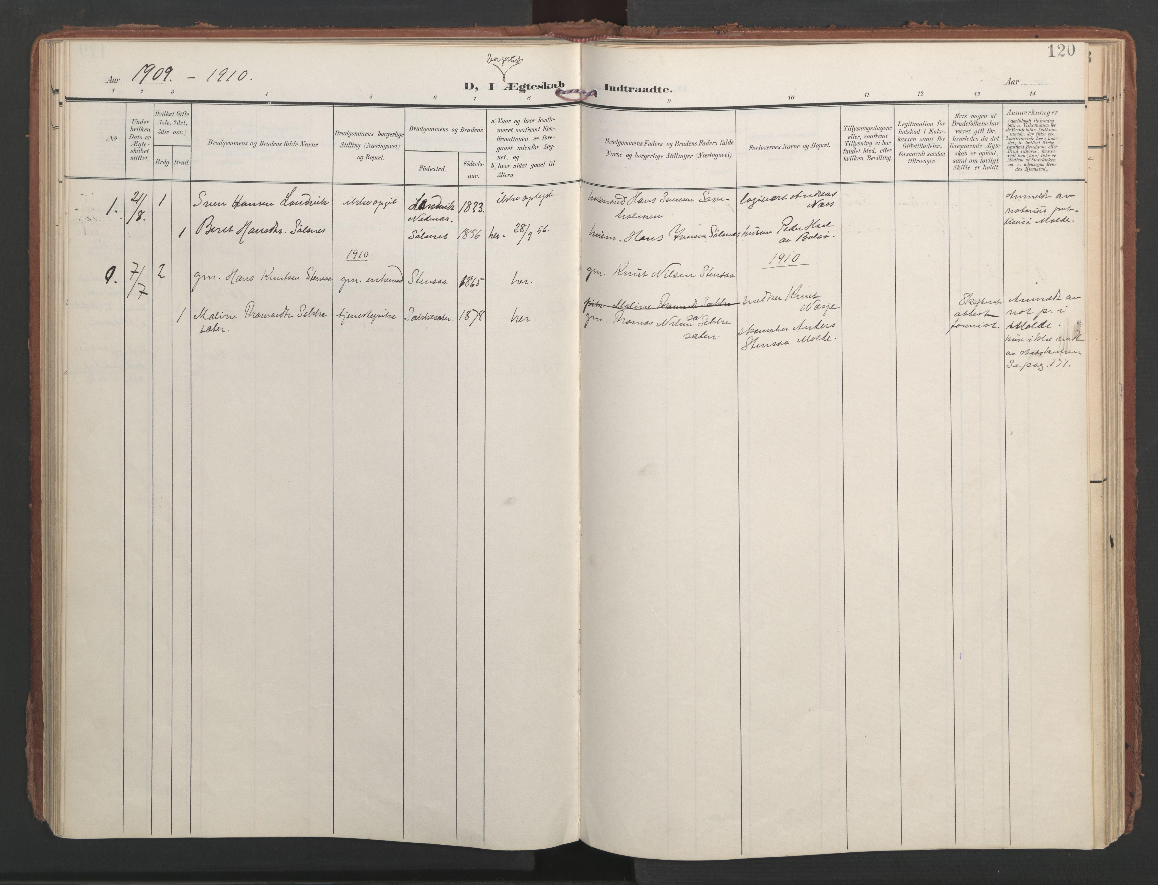 SAT, Ministerialprotokoller, klokkerbøker og fødselsregistre - Møre og Romsdal, 547/L0605: Ministerialbok nr. 547A07, 1907-1936, s. 120