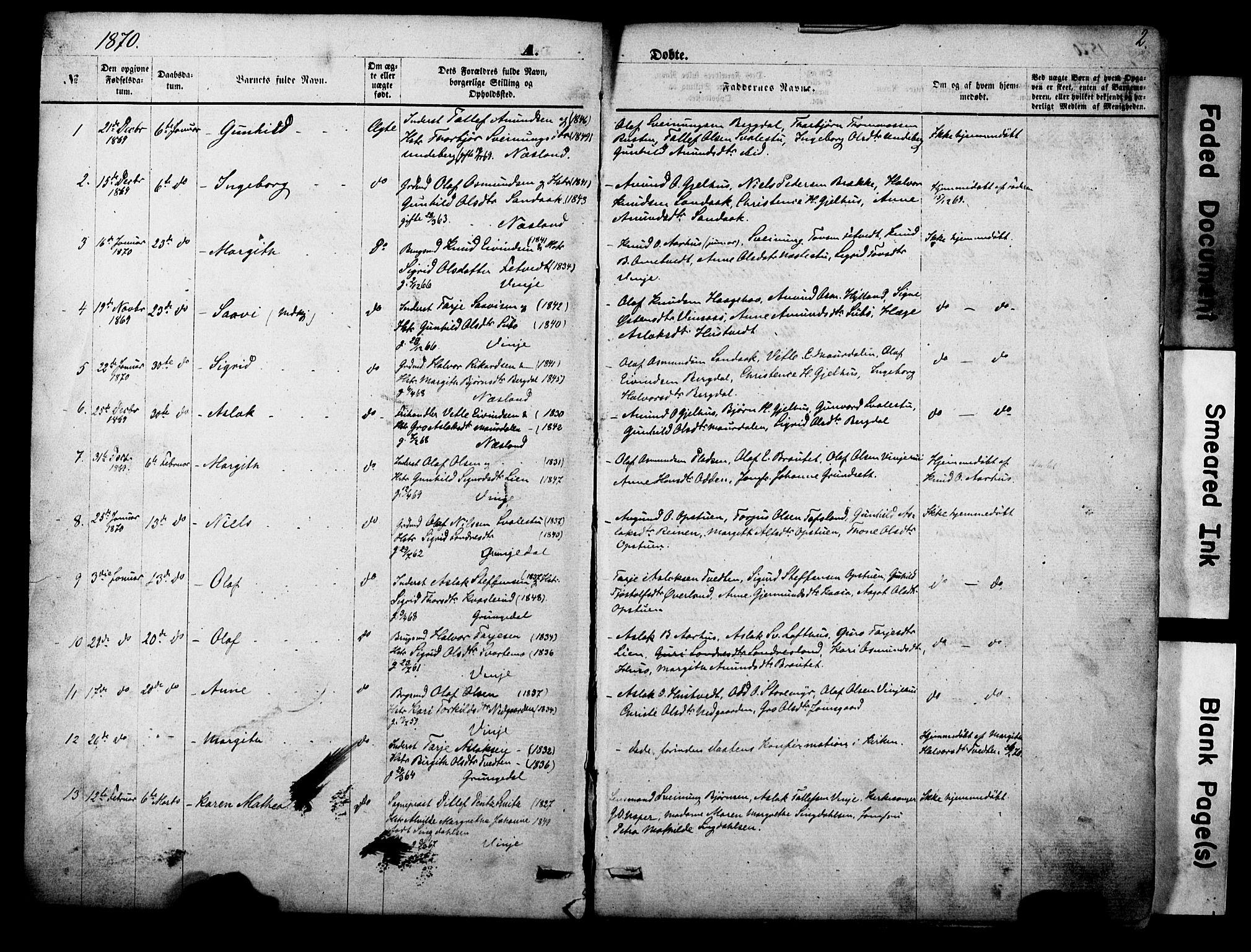 SAKO, Vinje kirkebøker, F/Fa/L0005: Ministerialbok nr. I 5, 1870-1886, s. 2