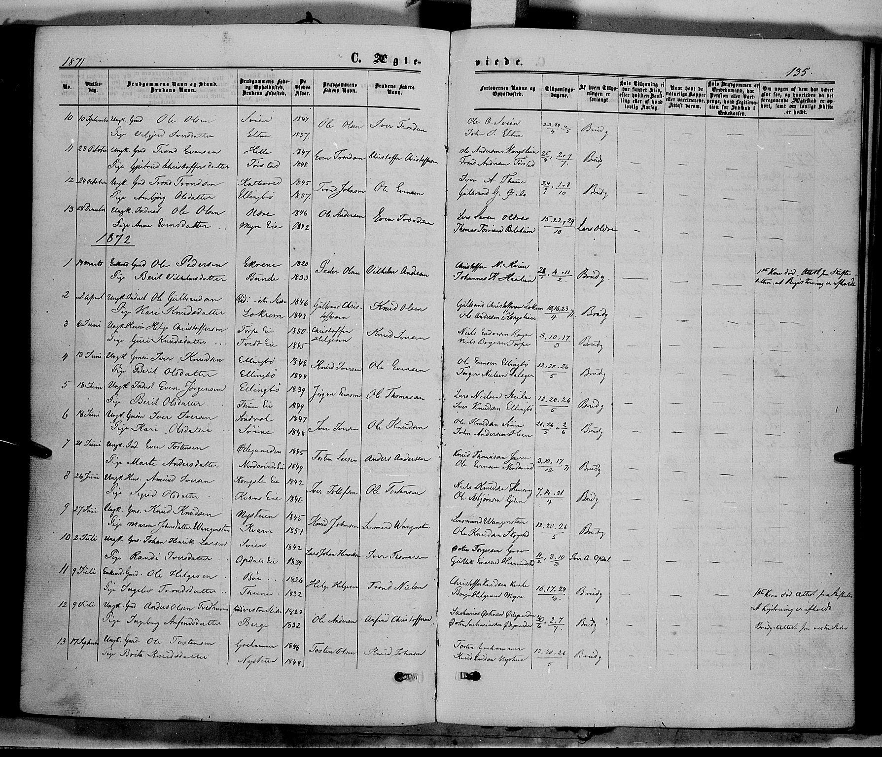 SAH, Vang prestekontor, Valdres, Ministerialbok nr. 7, 1865-1881, s. 135