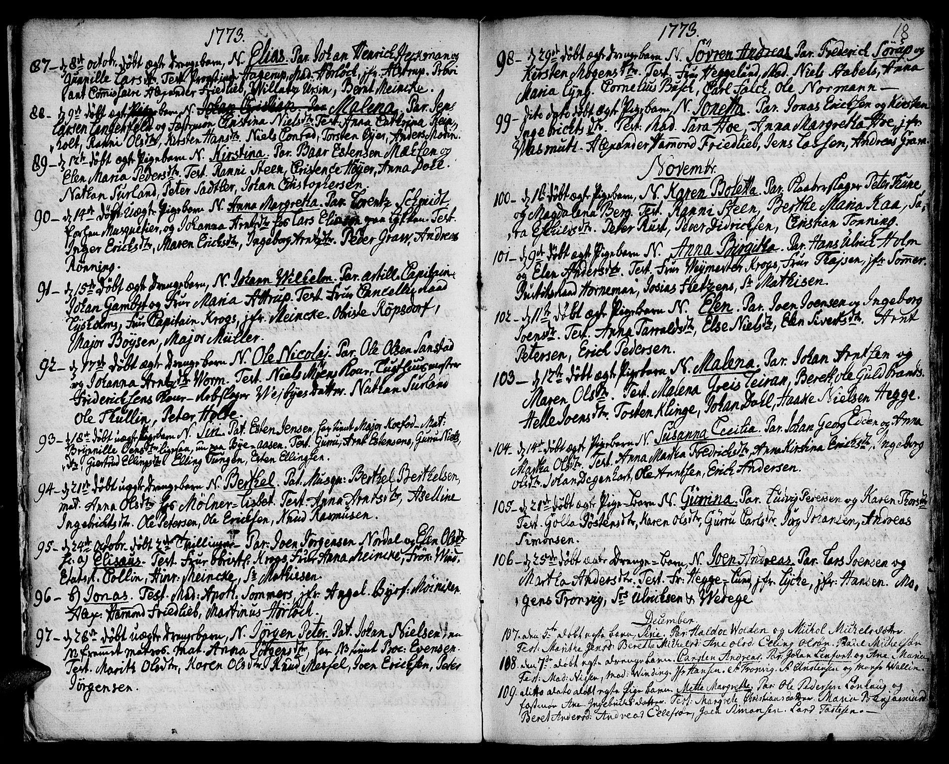 SAT, Ministerialprotokoller, klokkerbøker og fødselsregistre - Sør-Trøndelag, 601/L0039: Ministerialbok nr. 601A07, 1770-1819, s. 18