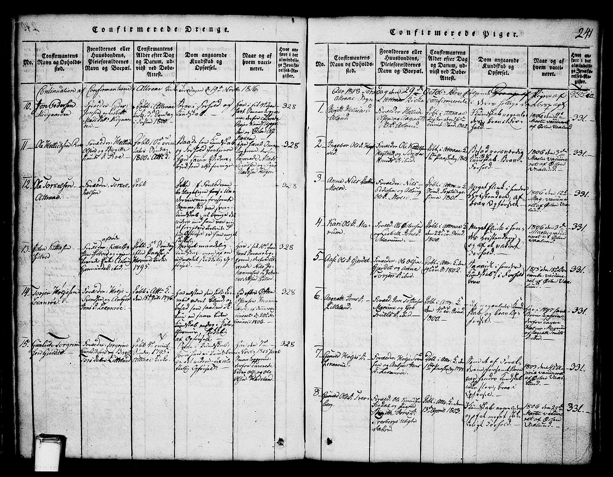 SAKO, Tinn kirkebøker, G/Ga/L0001: Klokkerbok nr. I 1, 1815-1850, s. 241
