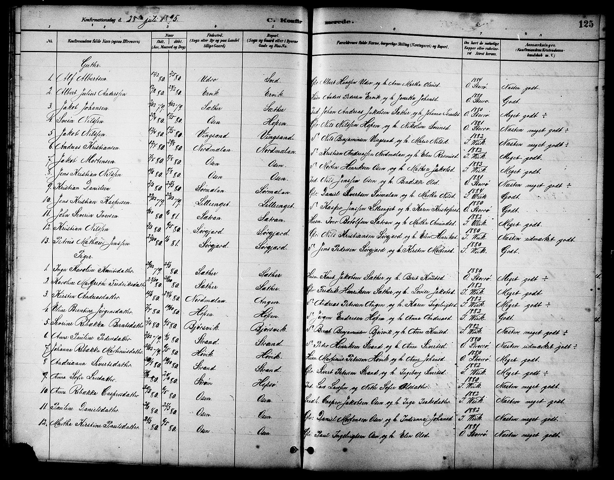 SAT, Ministerialprotokoller, klokkerbøker og fødselsregistre - Sør-Trøndelag, 658/L0726: Klokkerbok nr. 658C02, 1883-1908, s. 125