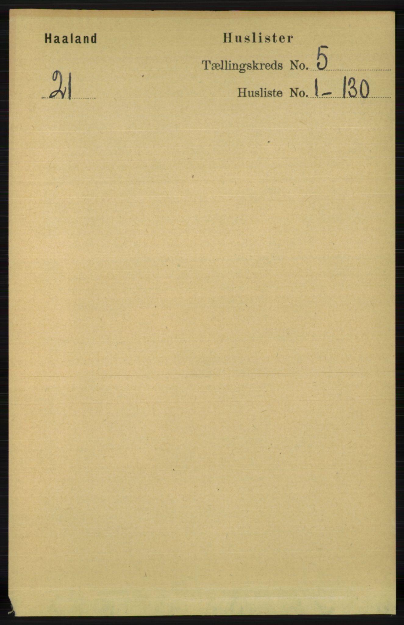 RA, Folketelling 1891 for 1124 Haaland herred, 1891, s. 3161