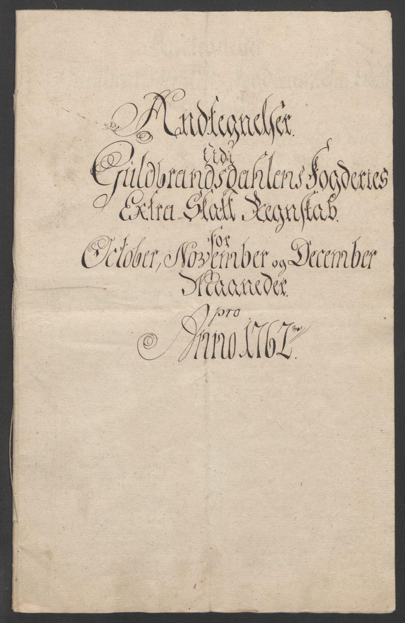 RA, Rentekammeret inntil 1814, Reviderte regnskaper, Fogderegnskap, R17/L1266: Ekstraskatten Gudbrandsdal, 1762-1766, s. 52