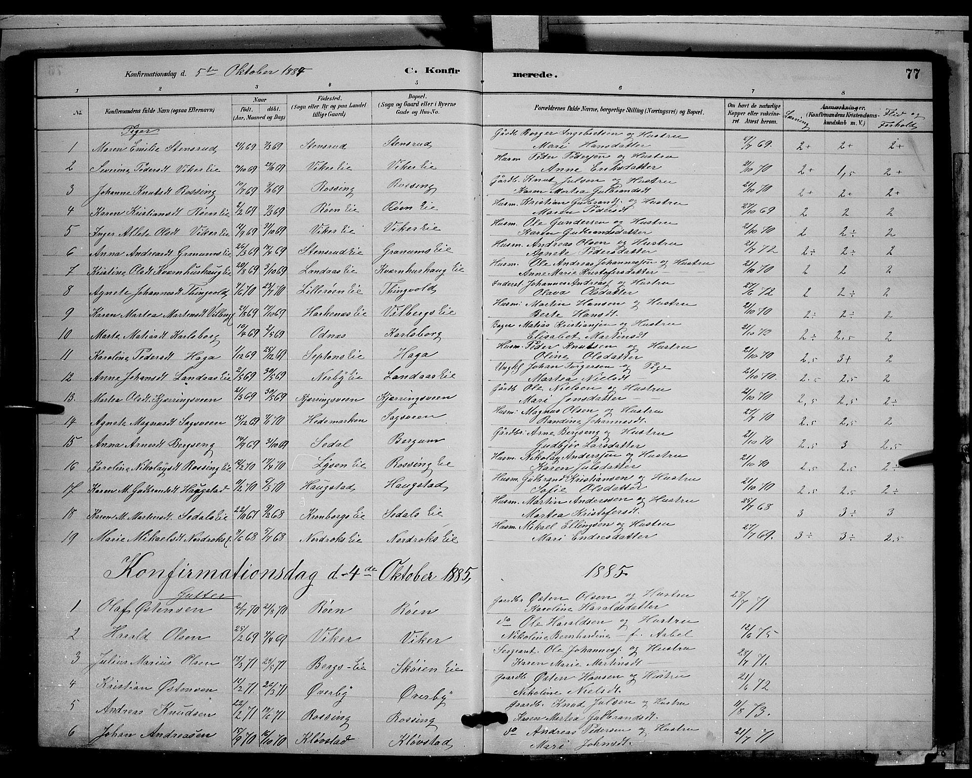 SAH, Søndre Land prestekontor, L/L0003: Klokkerbok nr. 3, 1884-1902, s. 77