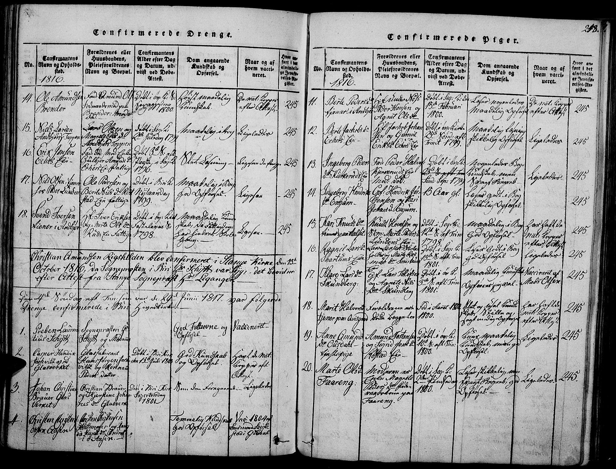 SAH, Biri prestekontor, Ministerialbok nr. 3, 1814-1828, s. 248