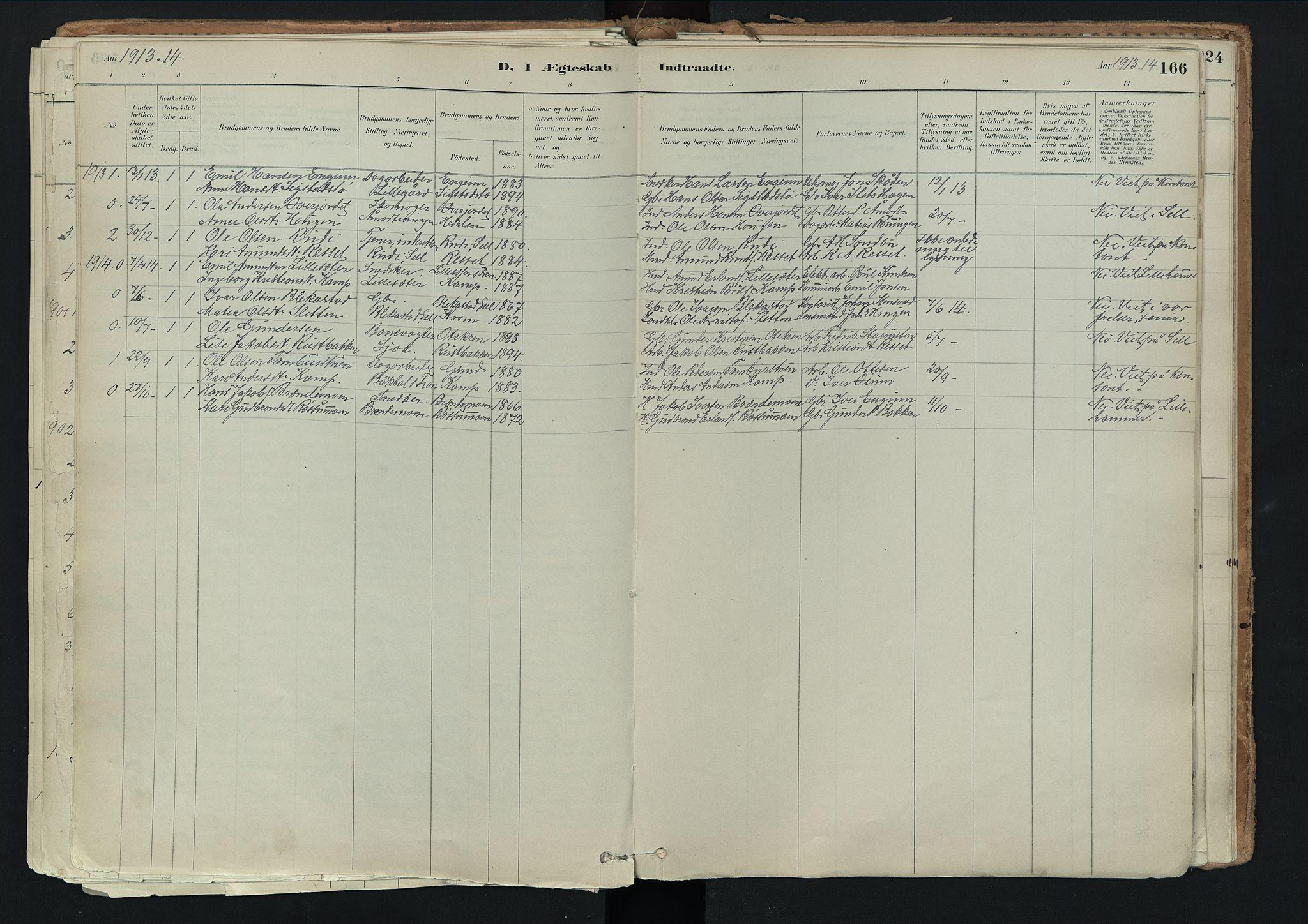 SAH, Nord-Fron prestekontor, Ministerialbok nr. 3, 1884-1914, s. 166