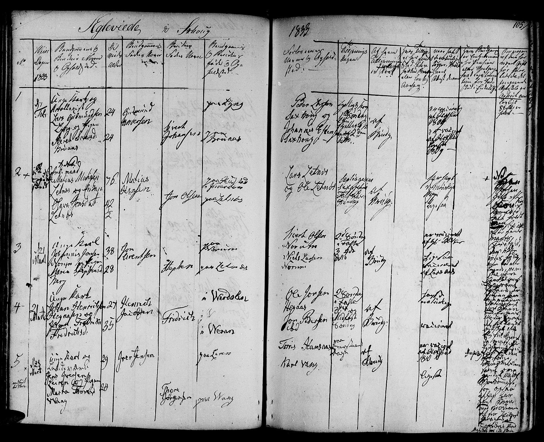 SAT, Ministerialprotokoller, klokkerbøker og fødselsregistre - Nord-Trøndelag, 730/L0277: Ministerialbok nr. 730A06 /1, 1830-1839, s. 105