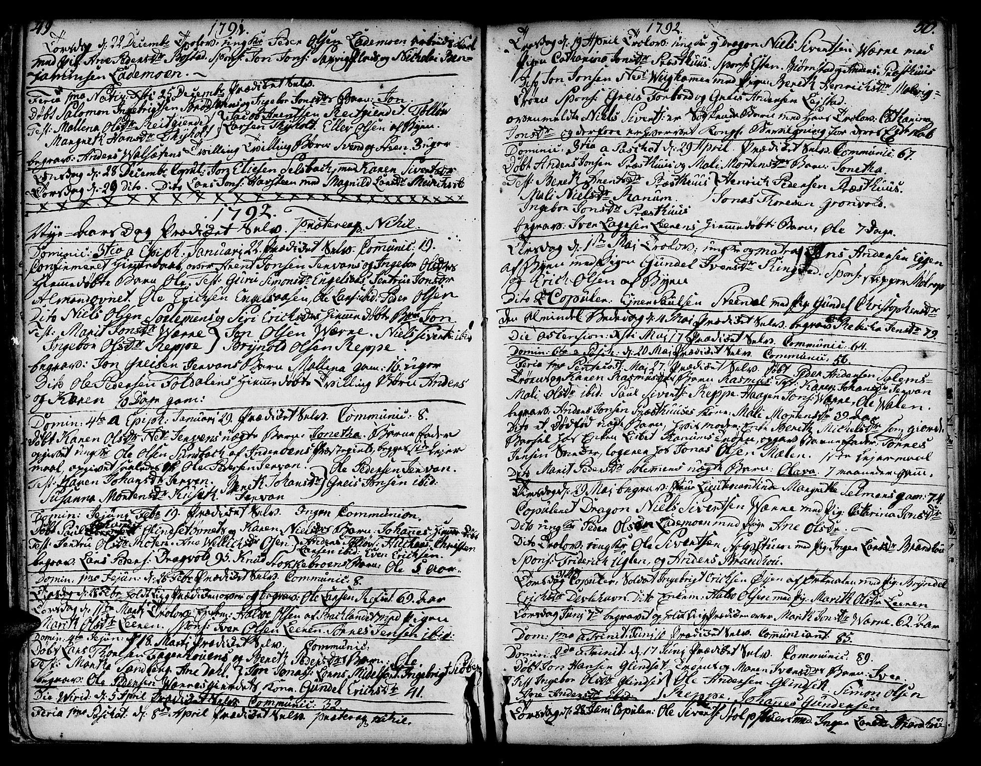 SAT, Ministerialprotokoller, klokkerbøker og fødselsregistre - Sør-Trøndelag, 606/L0280: Ministerialbok nr. 606A02 /1, 1781-1817, s. 49-50