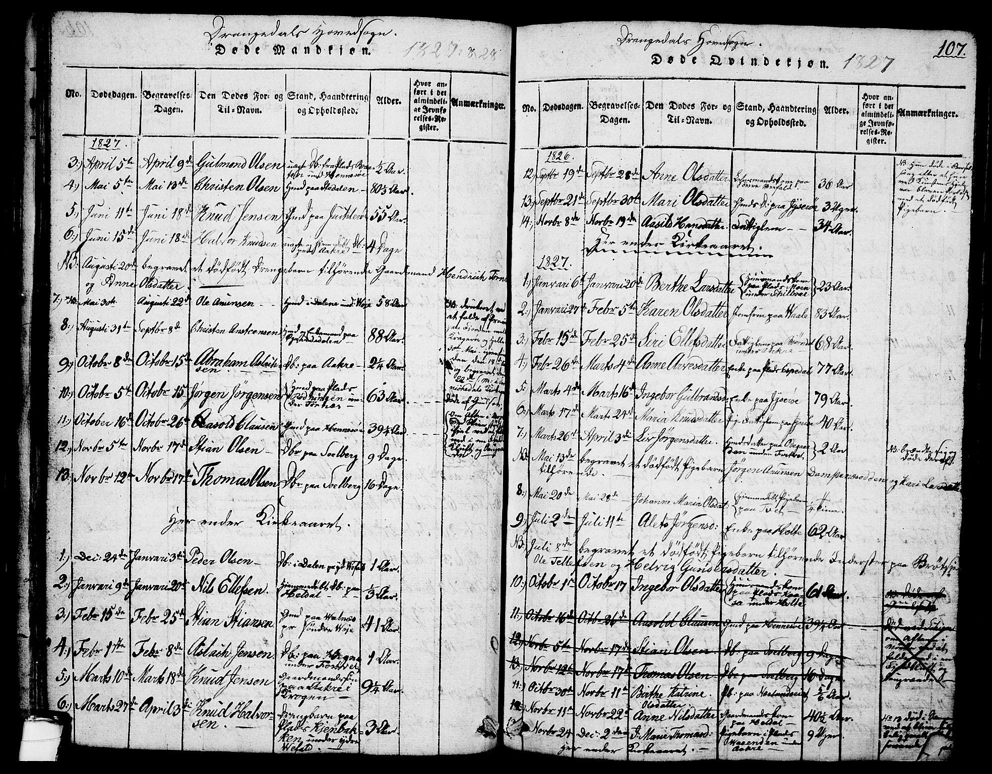 SAKO, Drangedal kirkebøker, G/Ga/L0001: Klokkerbok nr. I 1 /1, 1814-1856, s. 107