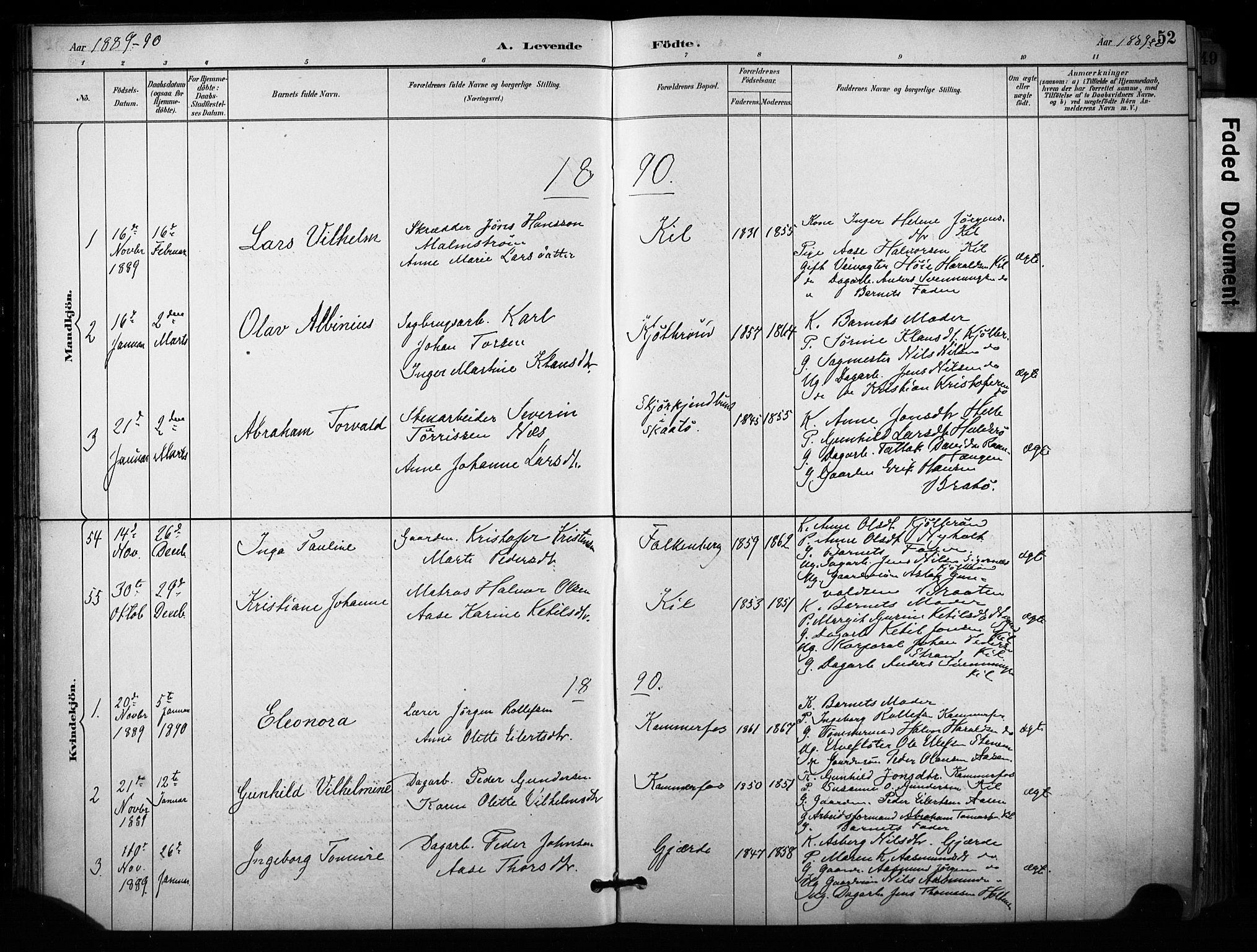 SAKO, Sannidal kirkebøker, F/Fa/L0015: Ministerialbok nr. 15, 1884-1899, s. 52