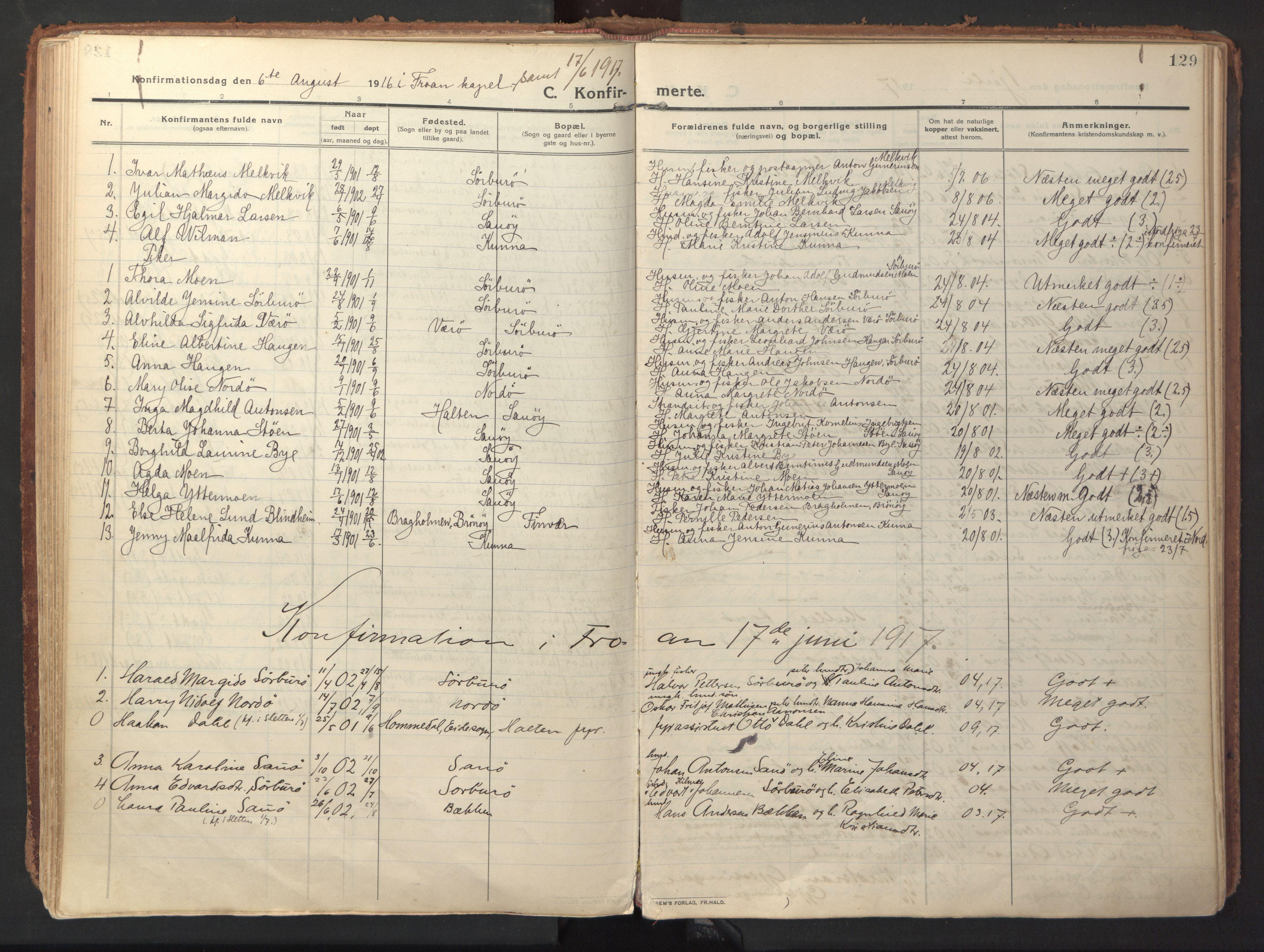 SAT, Ministerialprotokoller, klokkerbøker og fødselsregistre - Sør-Trøndelag, 640/L0581: Ministerialbok nr. 640A06, 1910-1924, s. 129